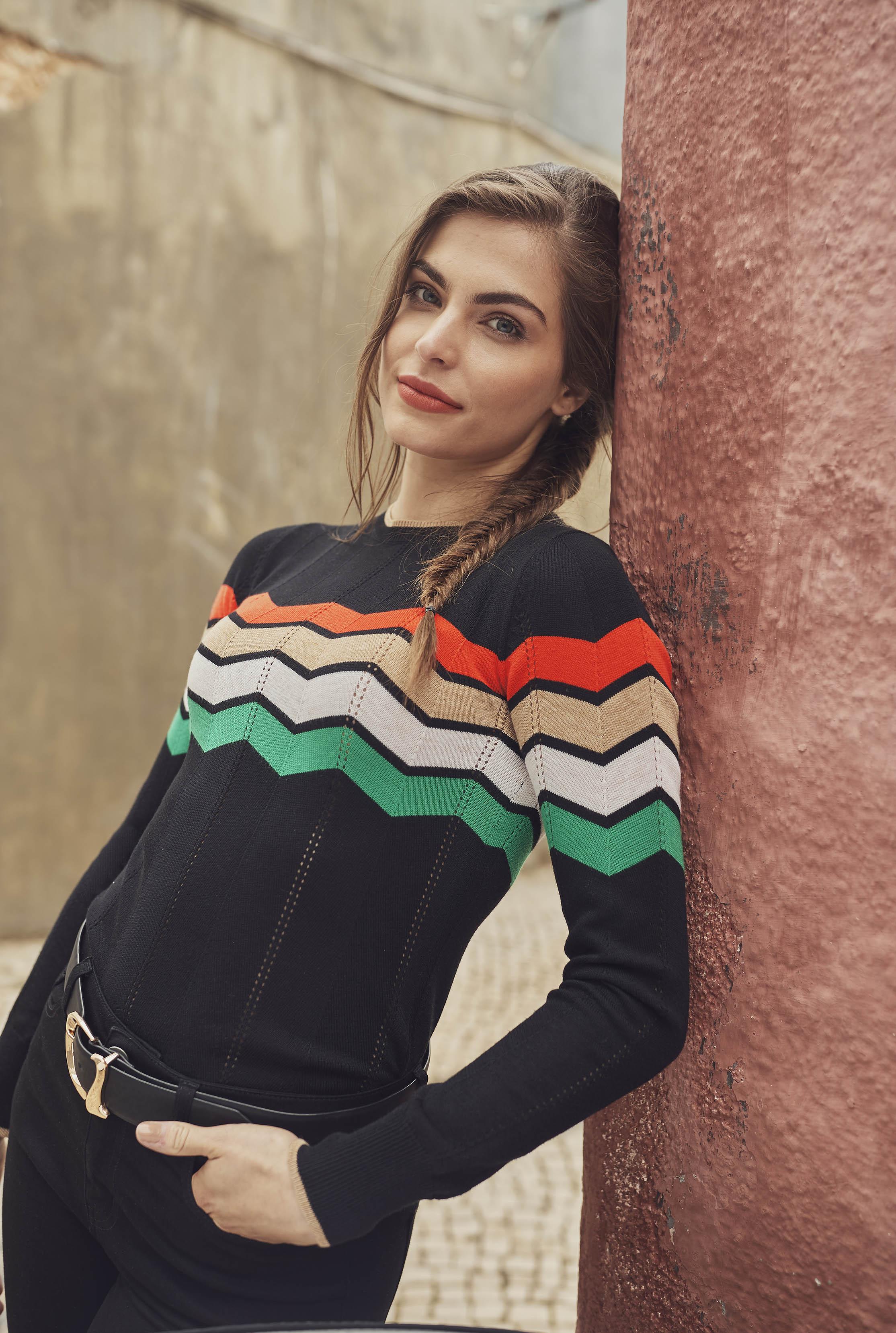 Black Wool Blend Chevron Sweater