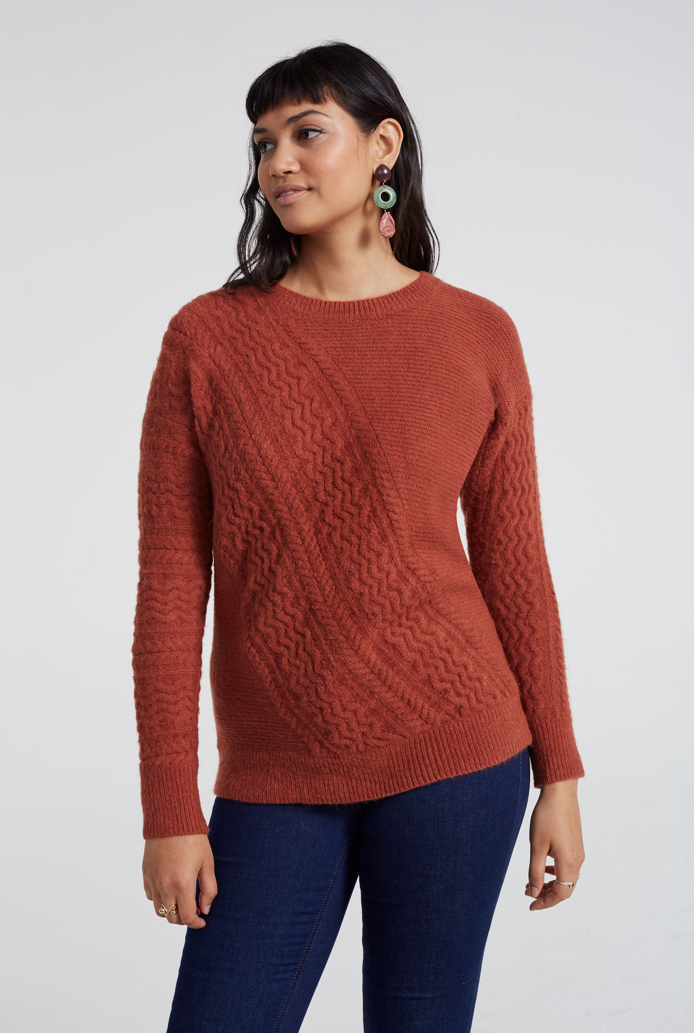 Asymmetric Cable Detail Sweater