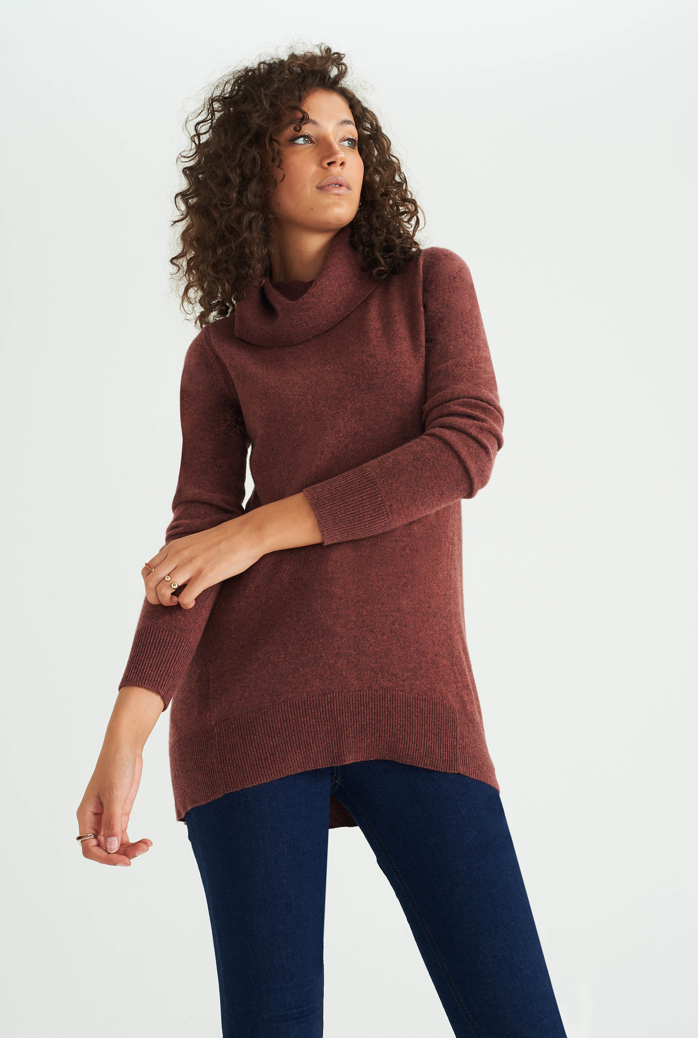 Chestnut Cashmere Cowl Neck Sweater