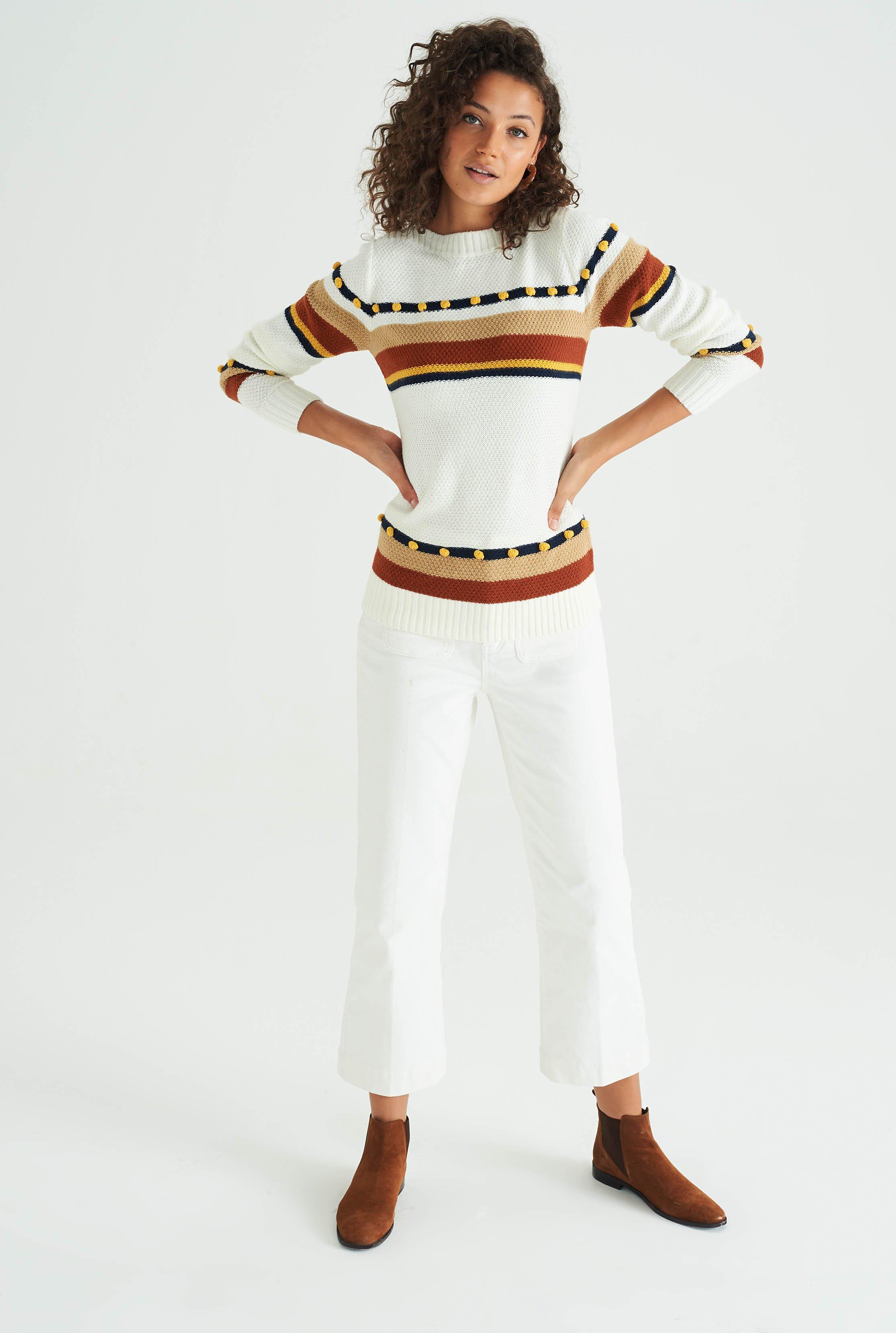 White Wool & Mohair Stripe Bobble Jumper