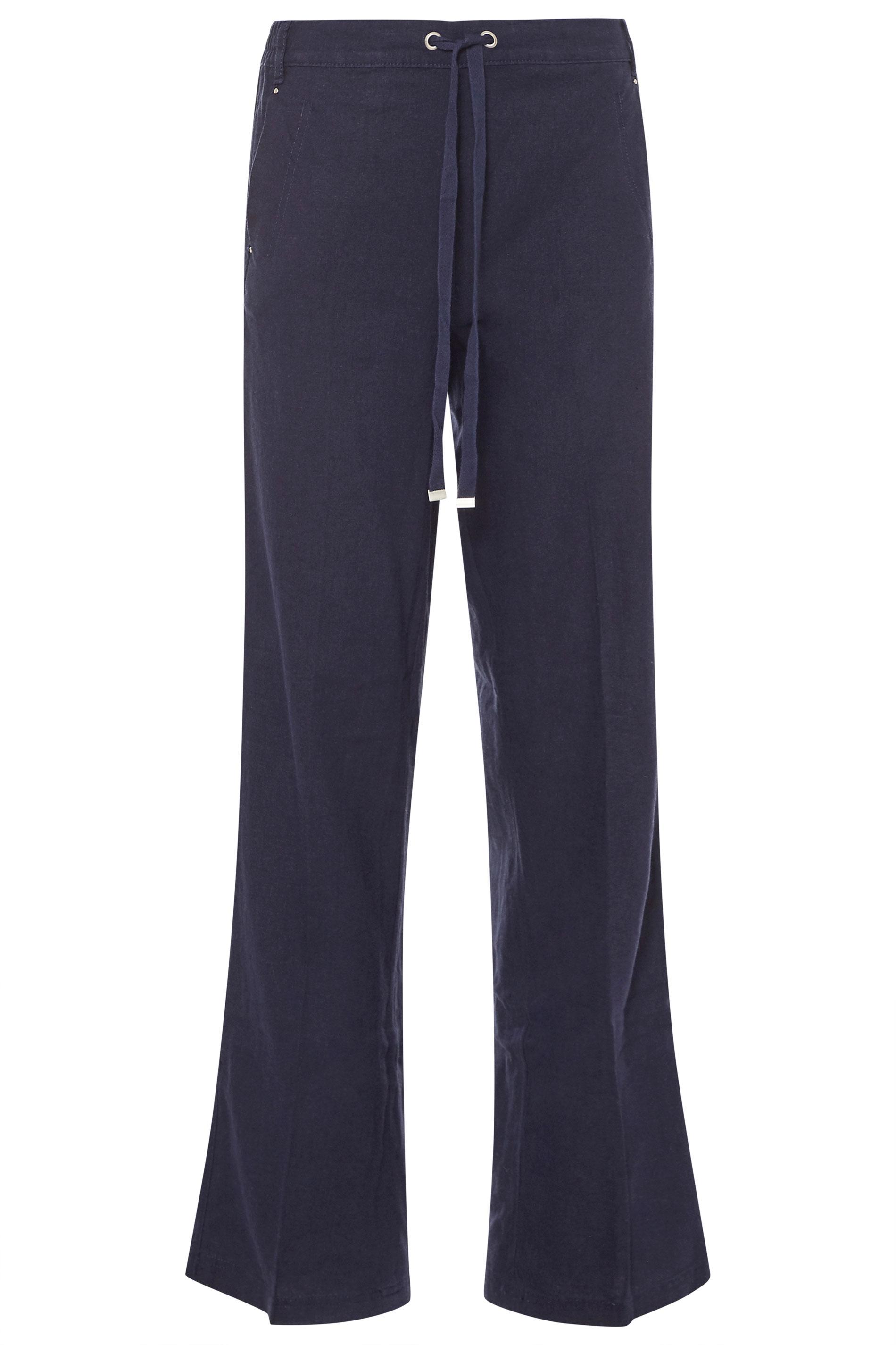 Navy Tie Front Wide Leg Linen Trousers