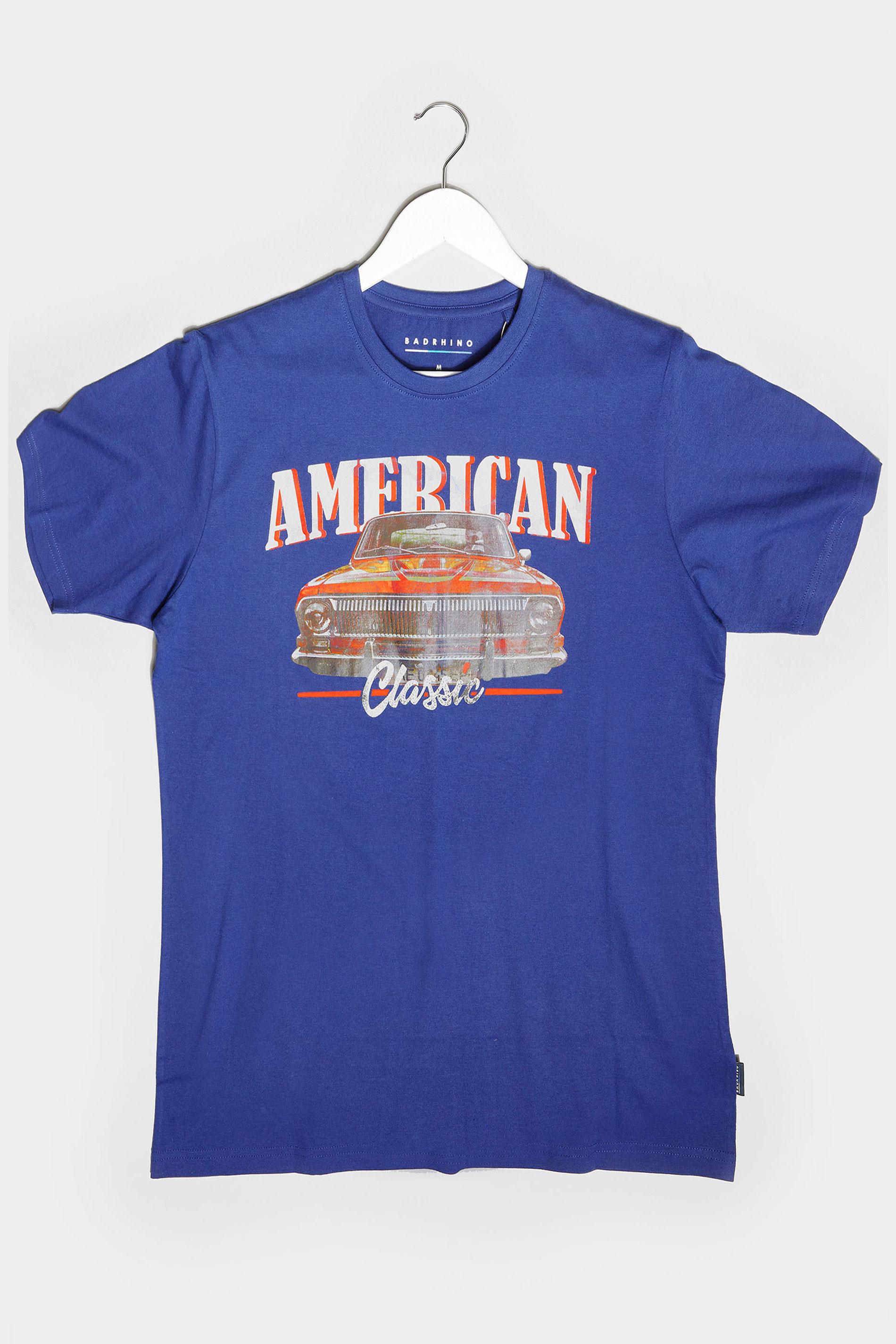 BadRhino Royal Blue American Classic Car Graphic Print T-Shirt