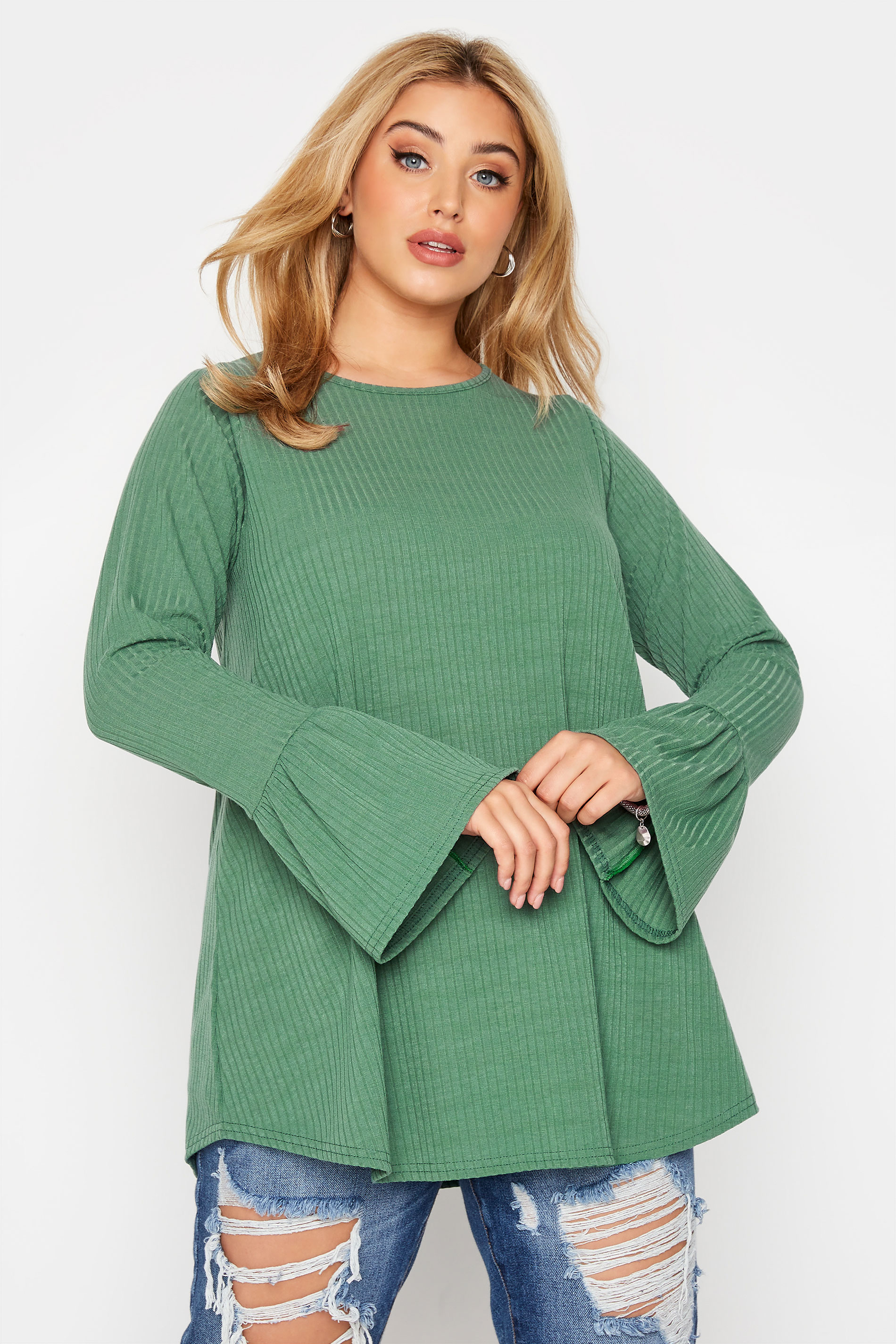 LIMITED COLLECTION Sage Green Ribbed Flare Long Sleeve Top_A.jpg