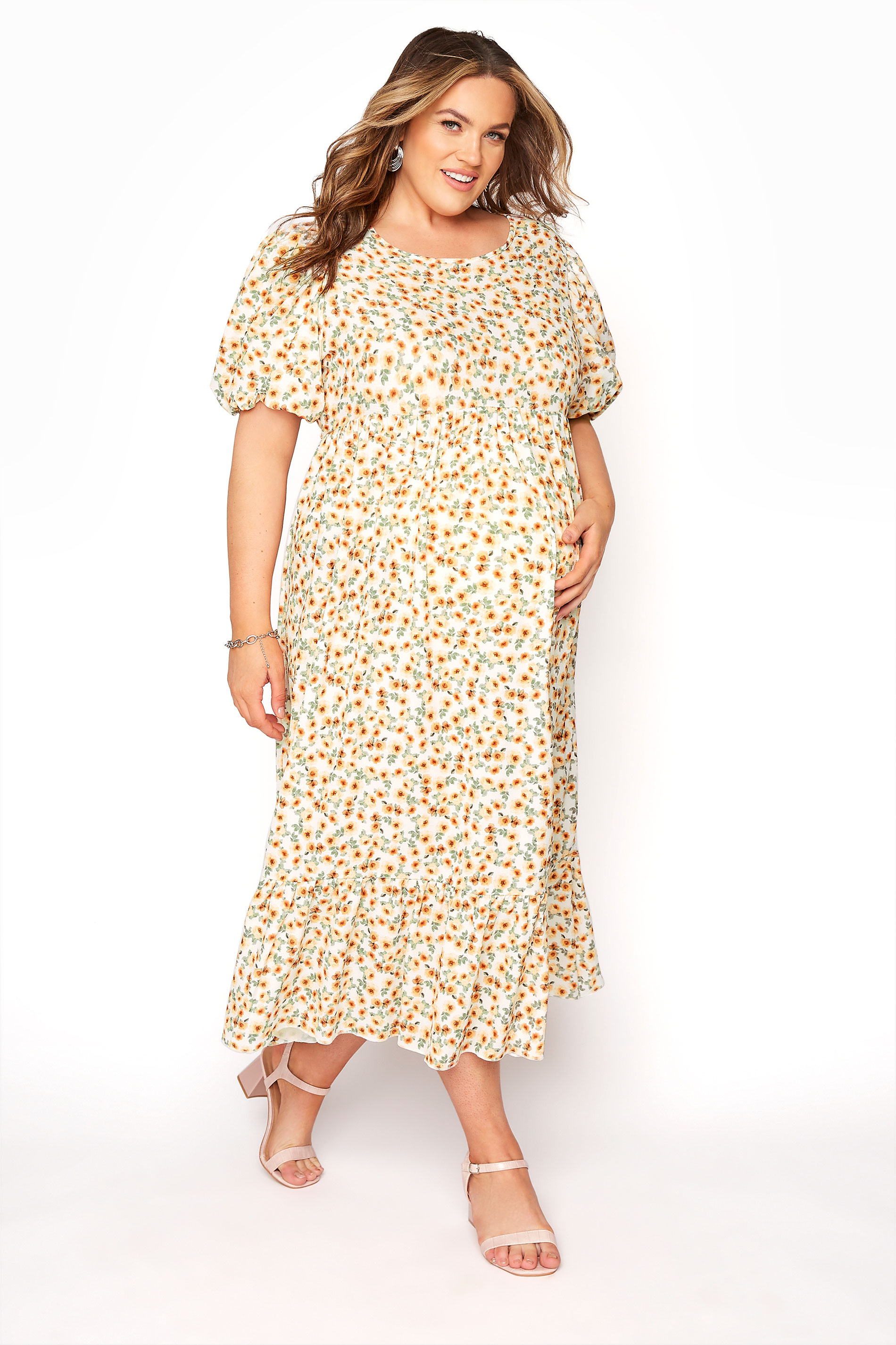 BUMP IT UP MATERNITY Ivory Floral Puff Sleeve Smock Dress