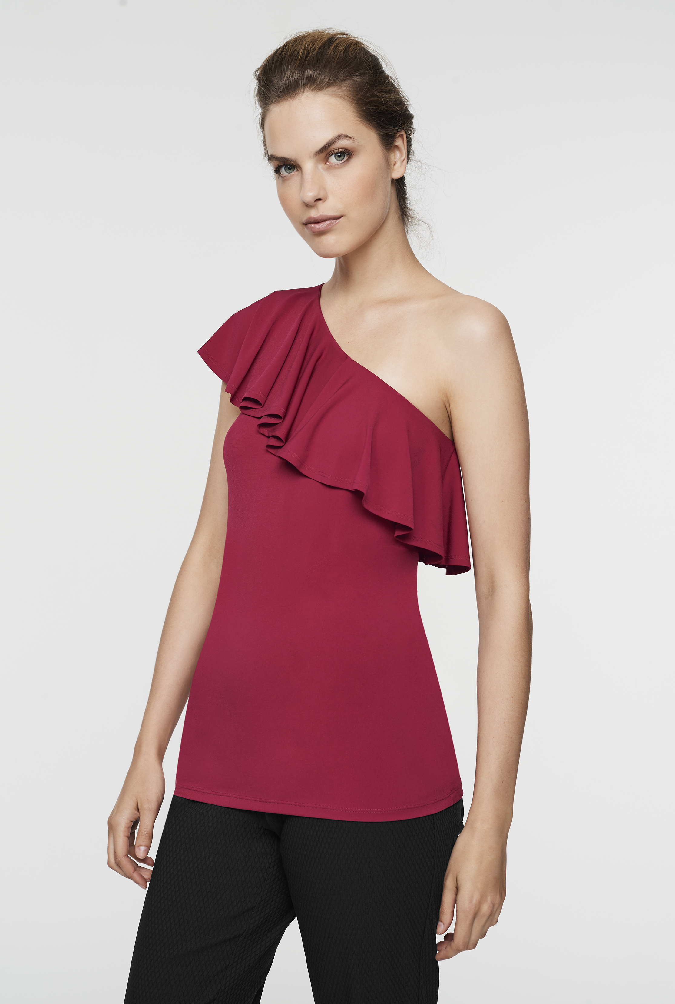 Red One Shoulder Frill Top