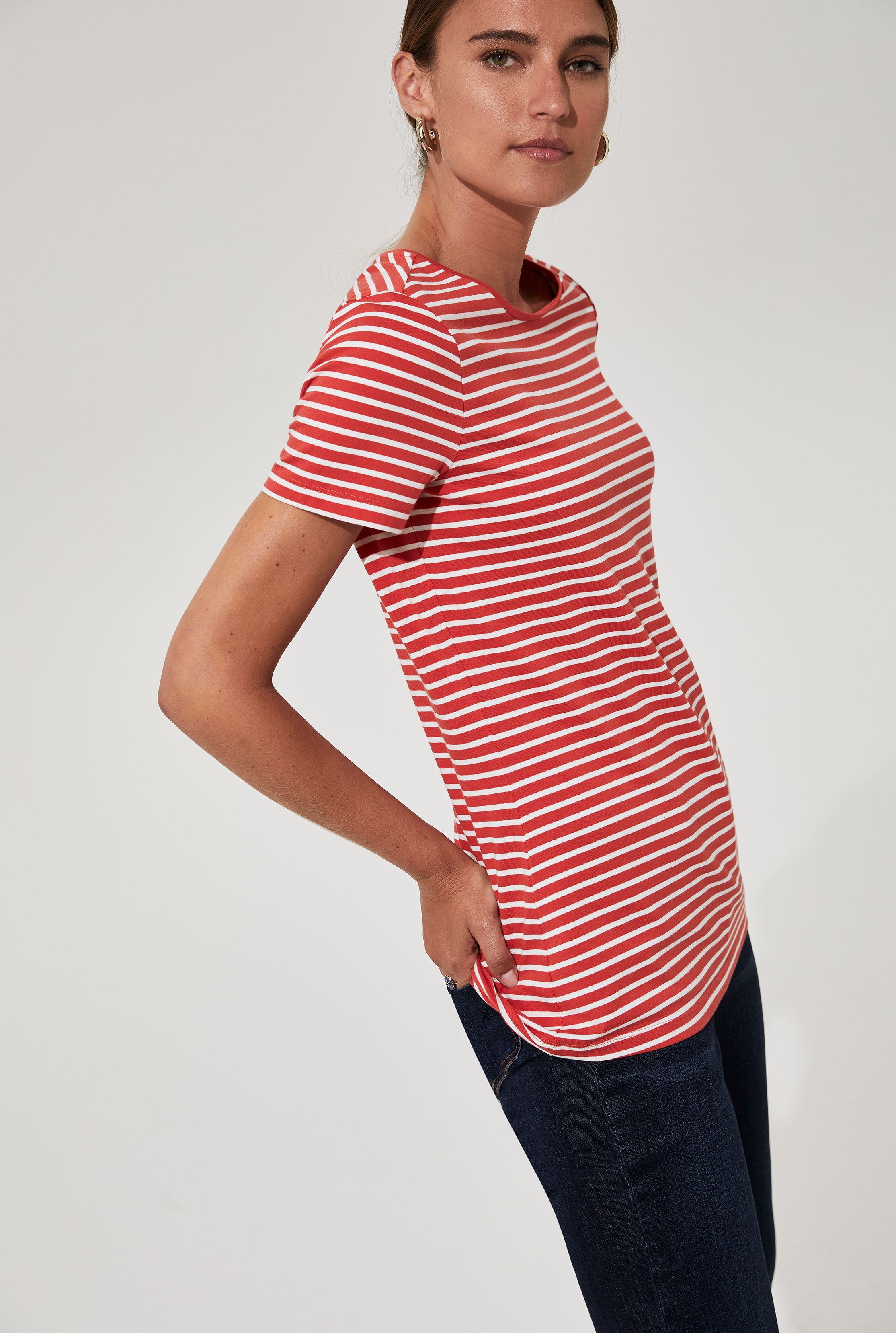 Red Striped Cotton T-Shirt