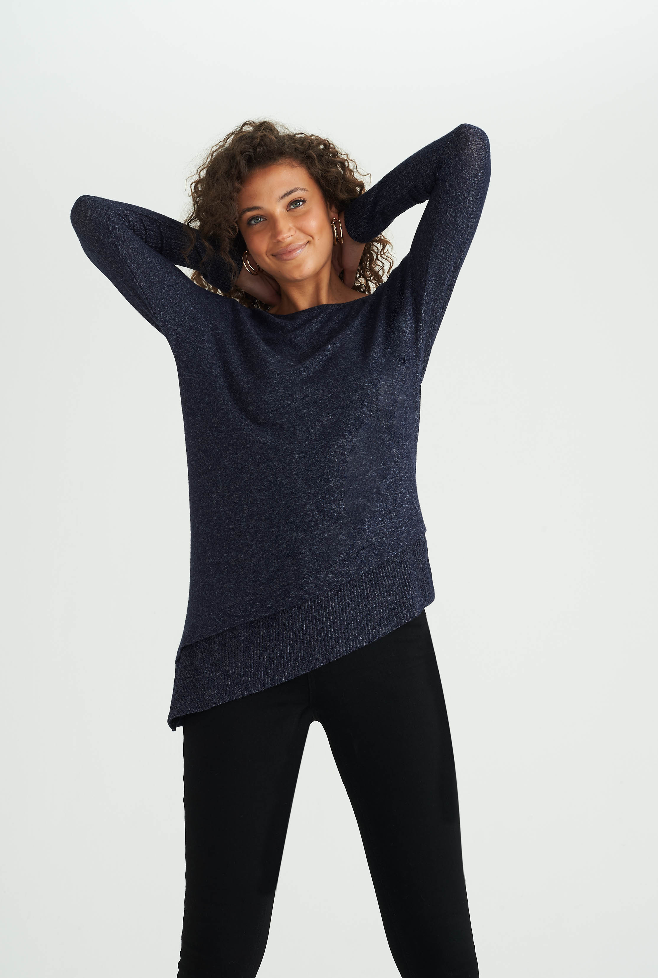 Navy Asymmetric Ribbed Top