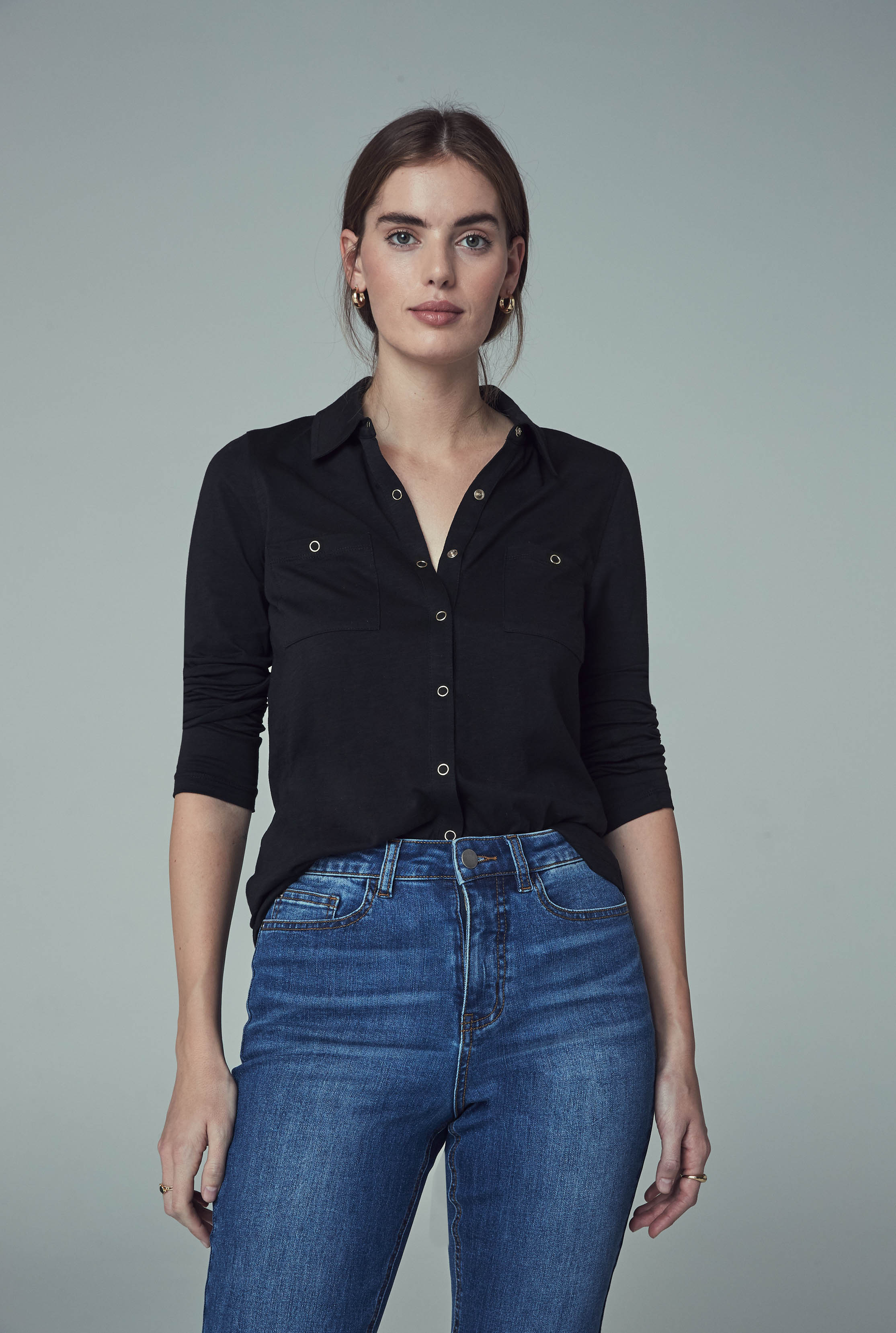 Black Cotton Jersey Shirt