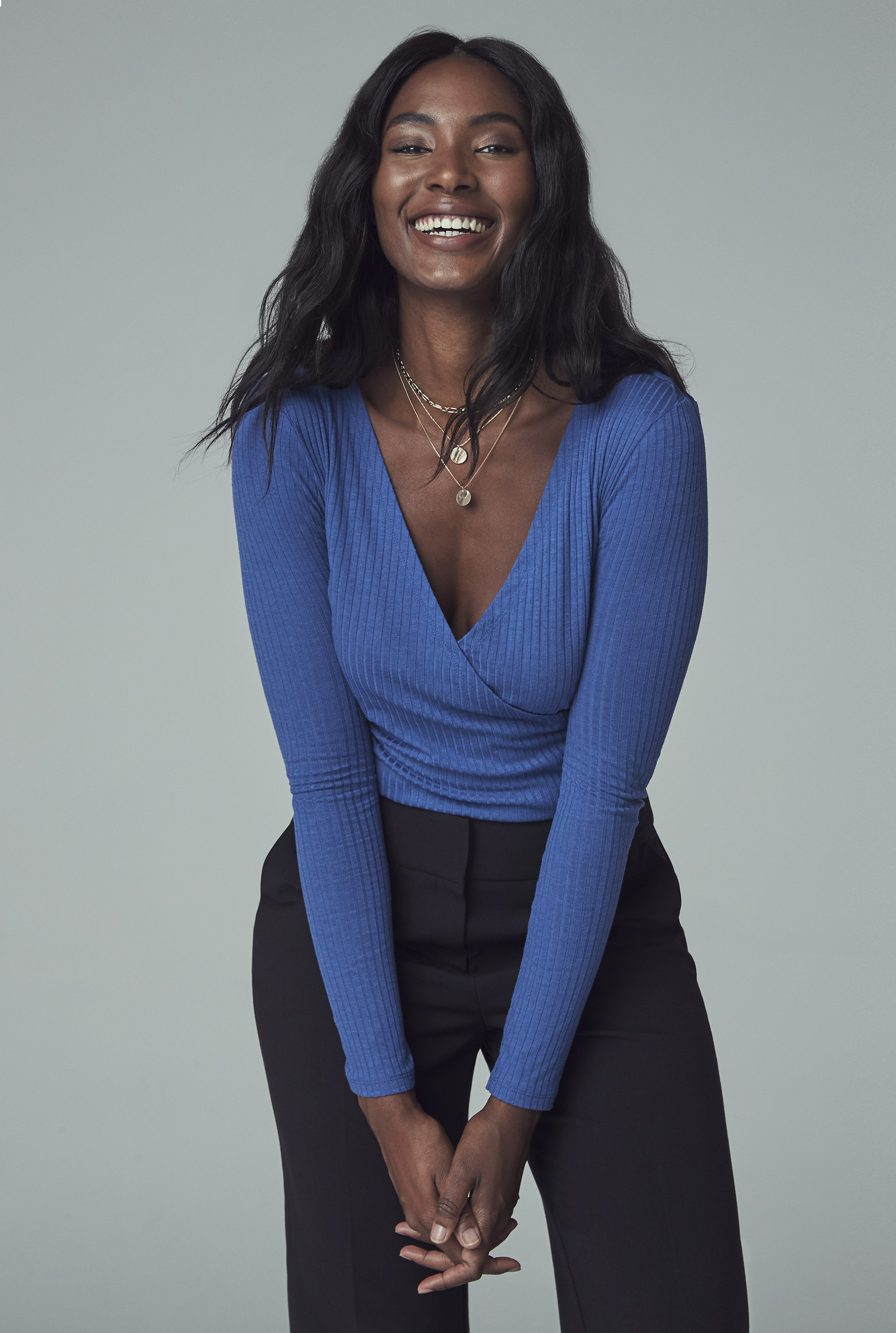 Blue Ribbed Wrap Top
