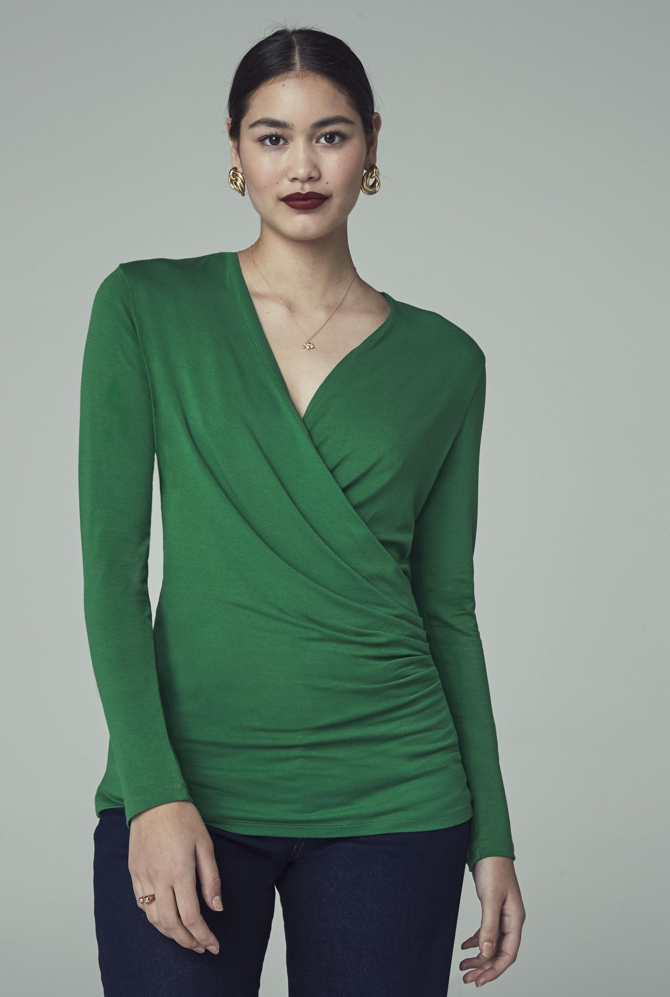 Green Jersey Wrap Top