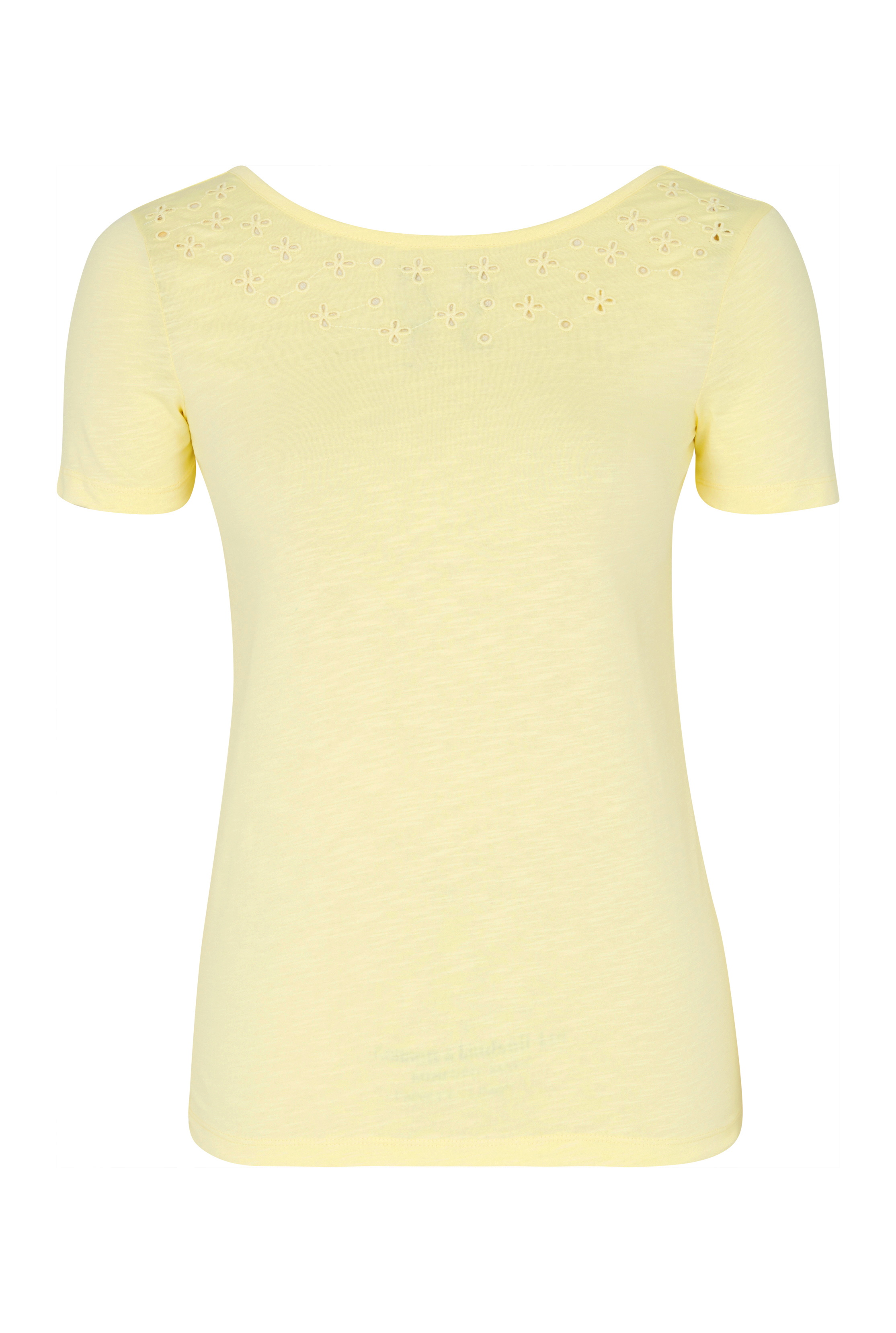 Yellow Broderie Detail Short Sleeve Tee