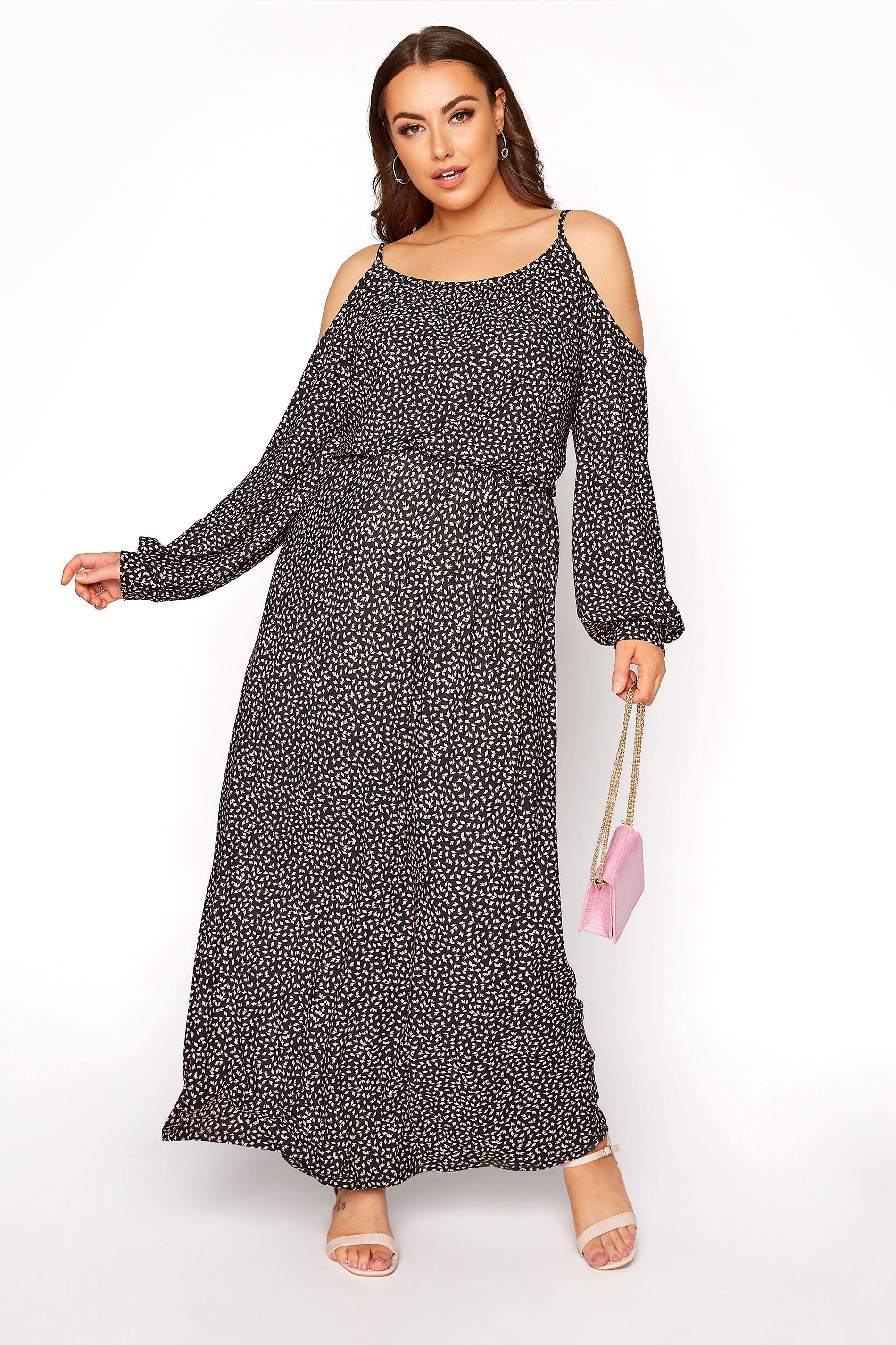 Black Cold Shoulder Ditsy Maxi Dress