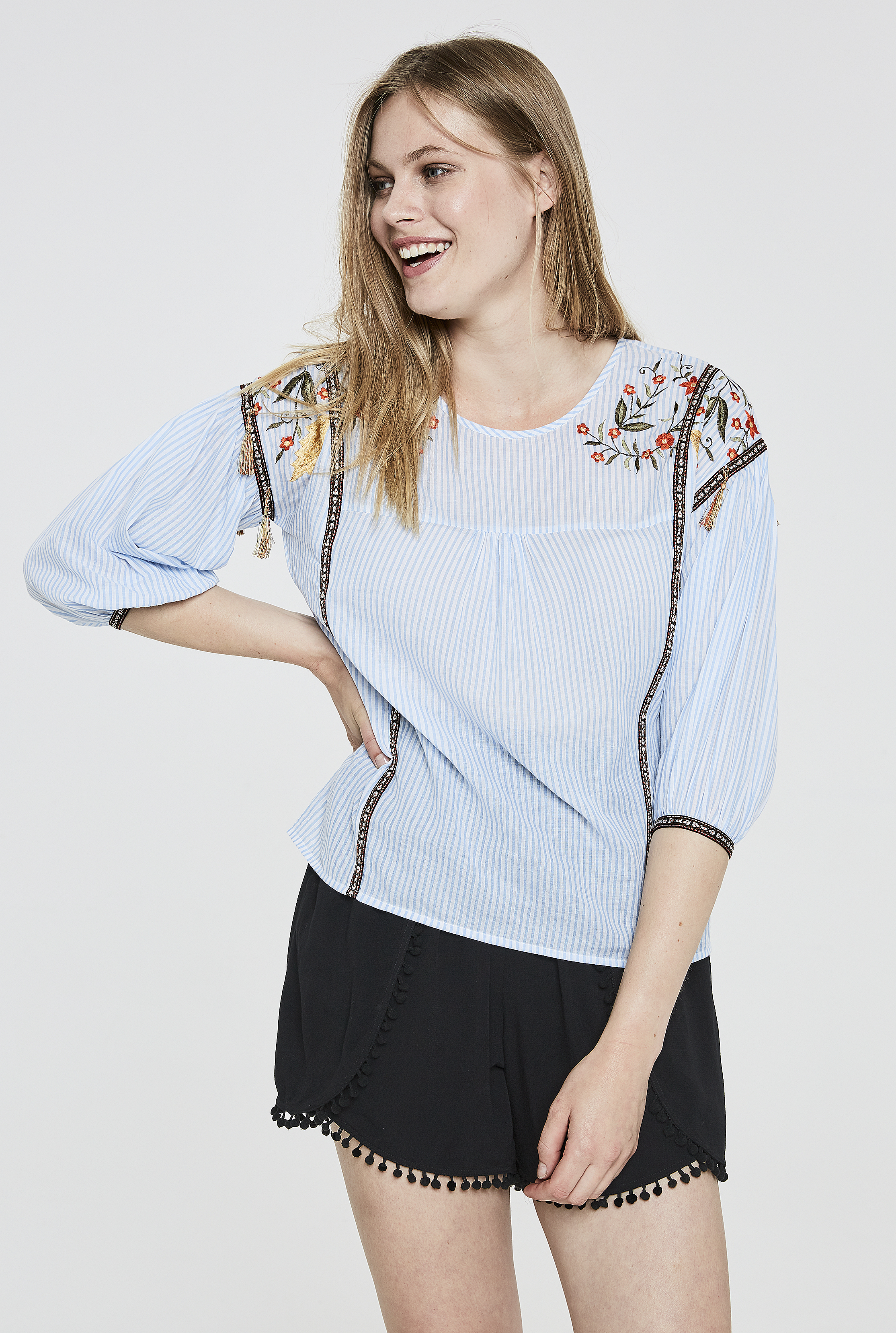Y.A.S Tall Brody Embroidered Stripe Top