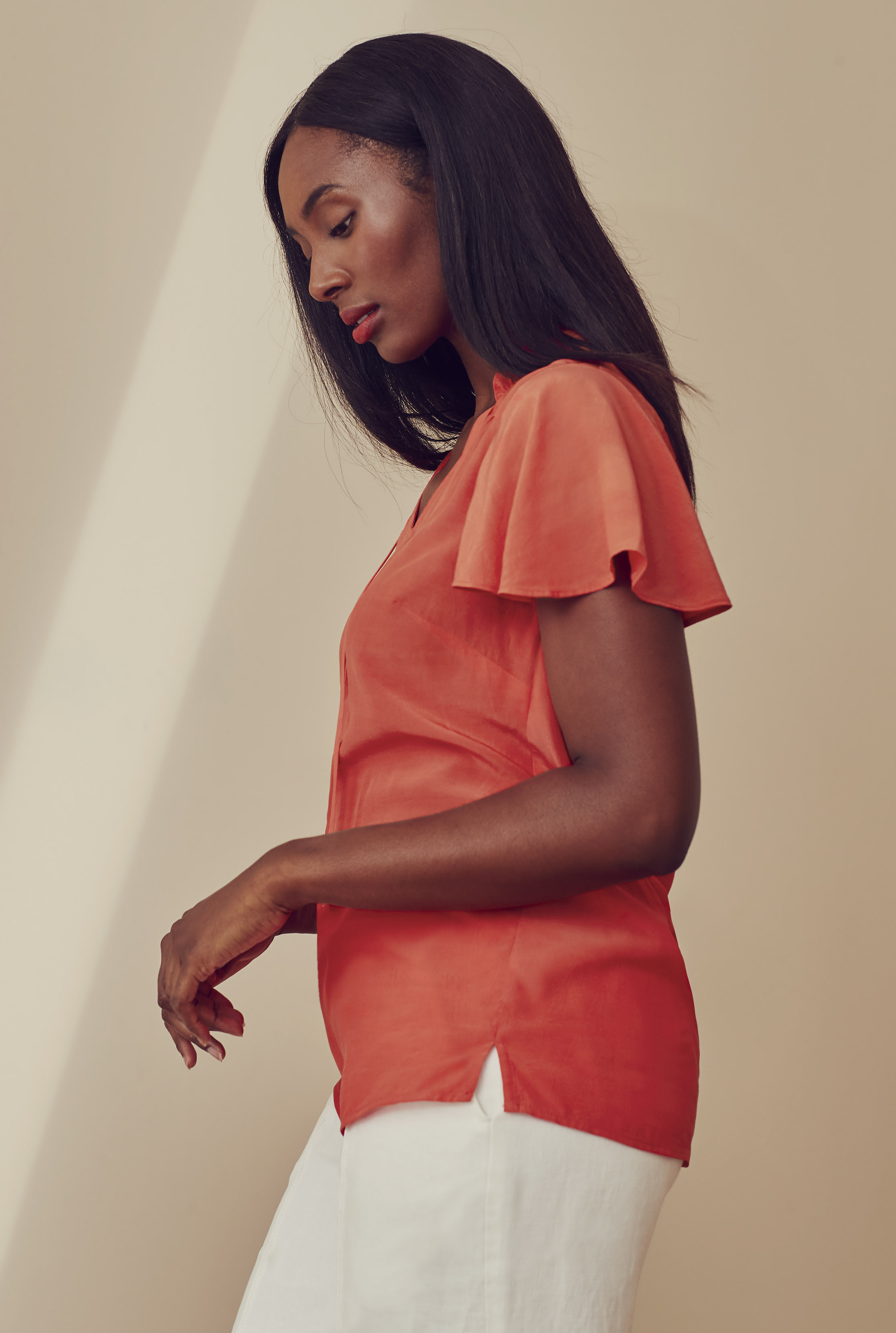 Coral Tie Front Detail Top
