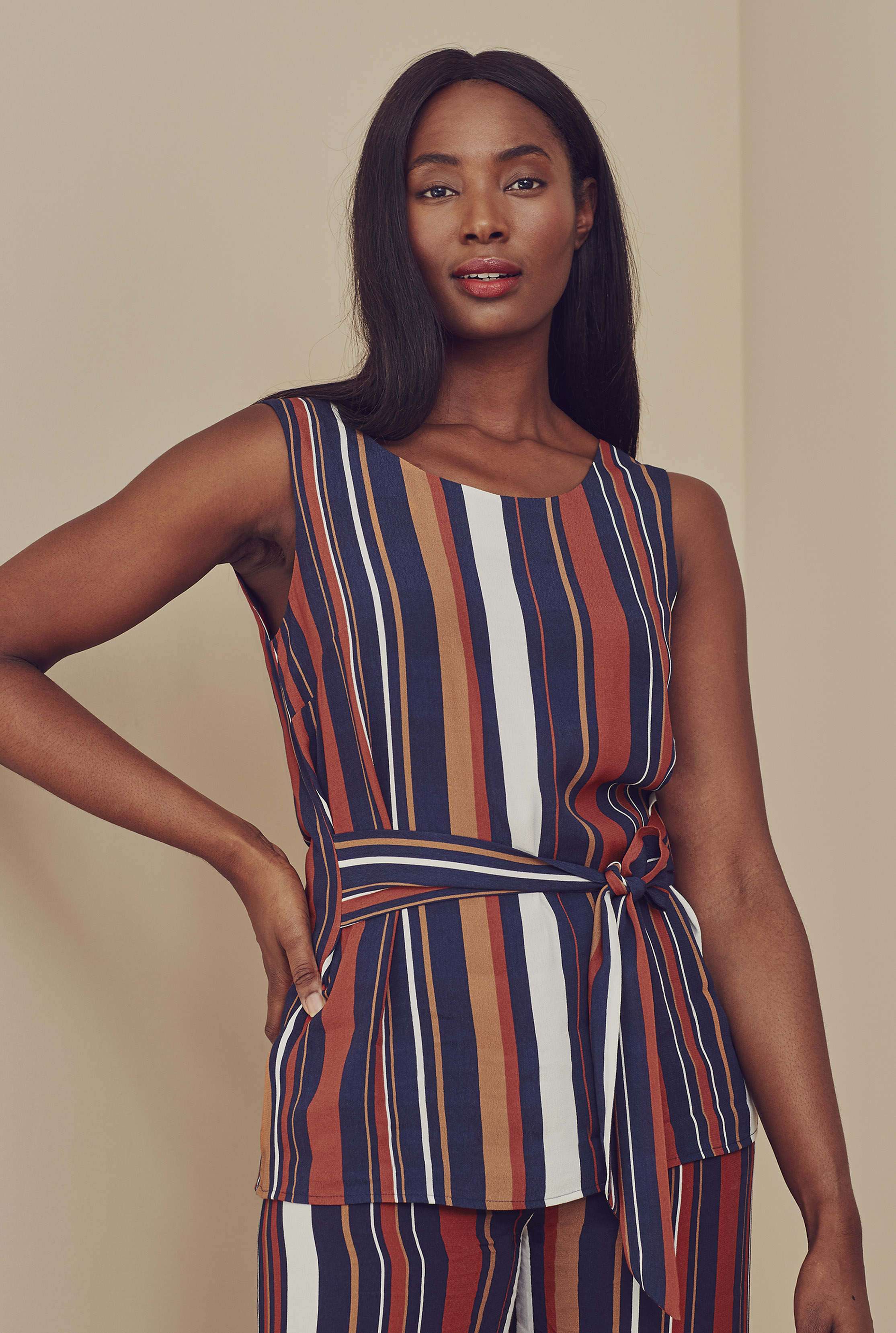 Stripe Tie Front Co-ord Top