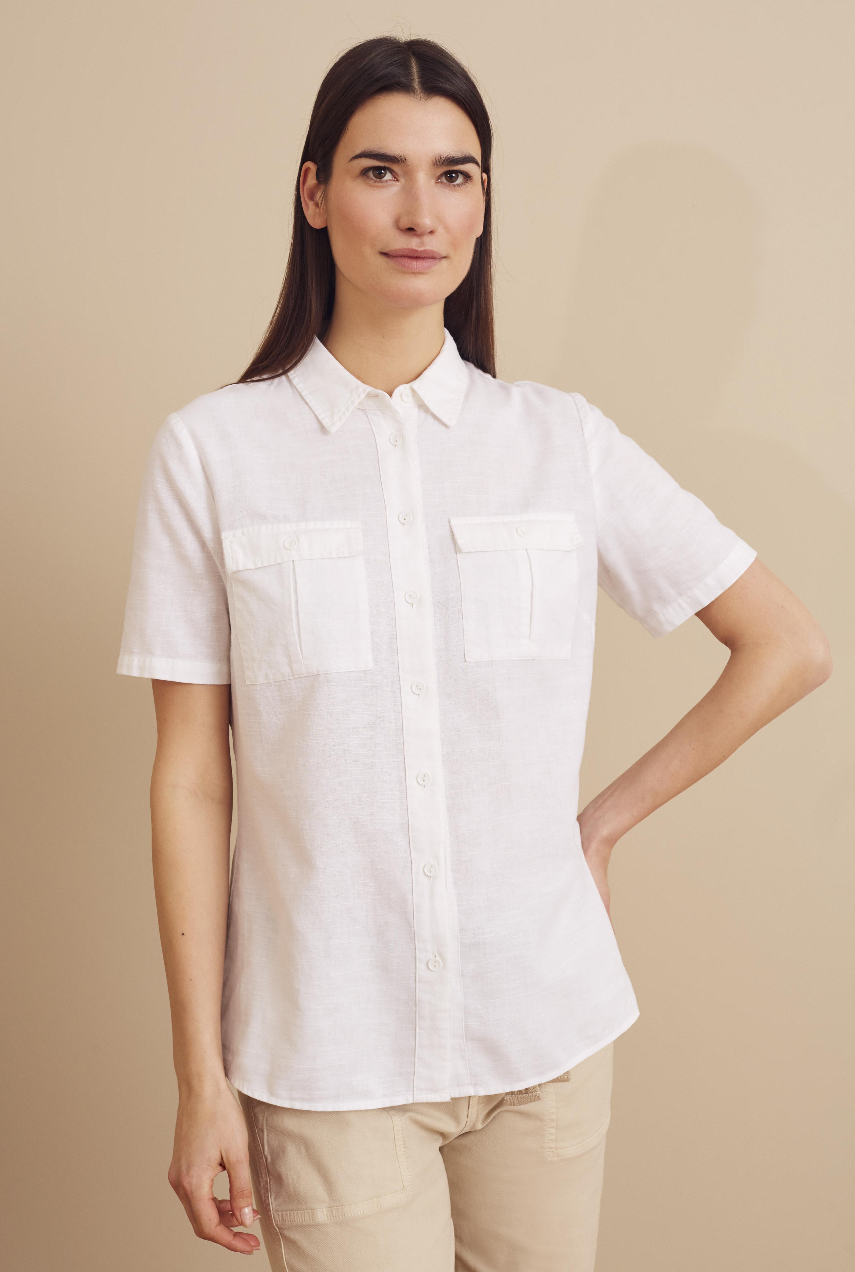 White Utility Look Linen Shirt