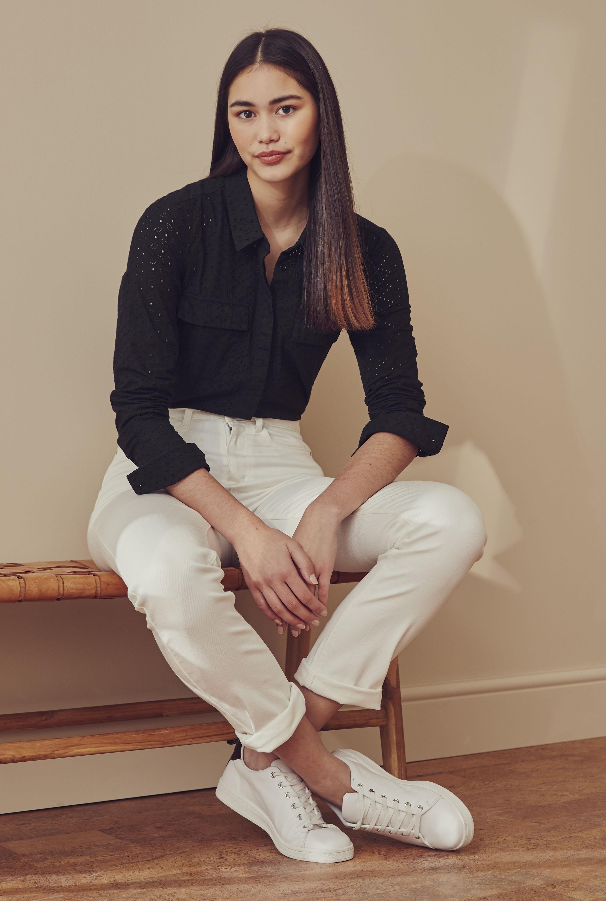 Black Long Sleeve Cotton Broderie Shirt