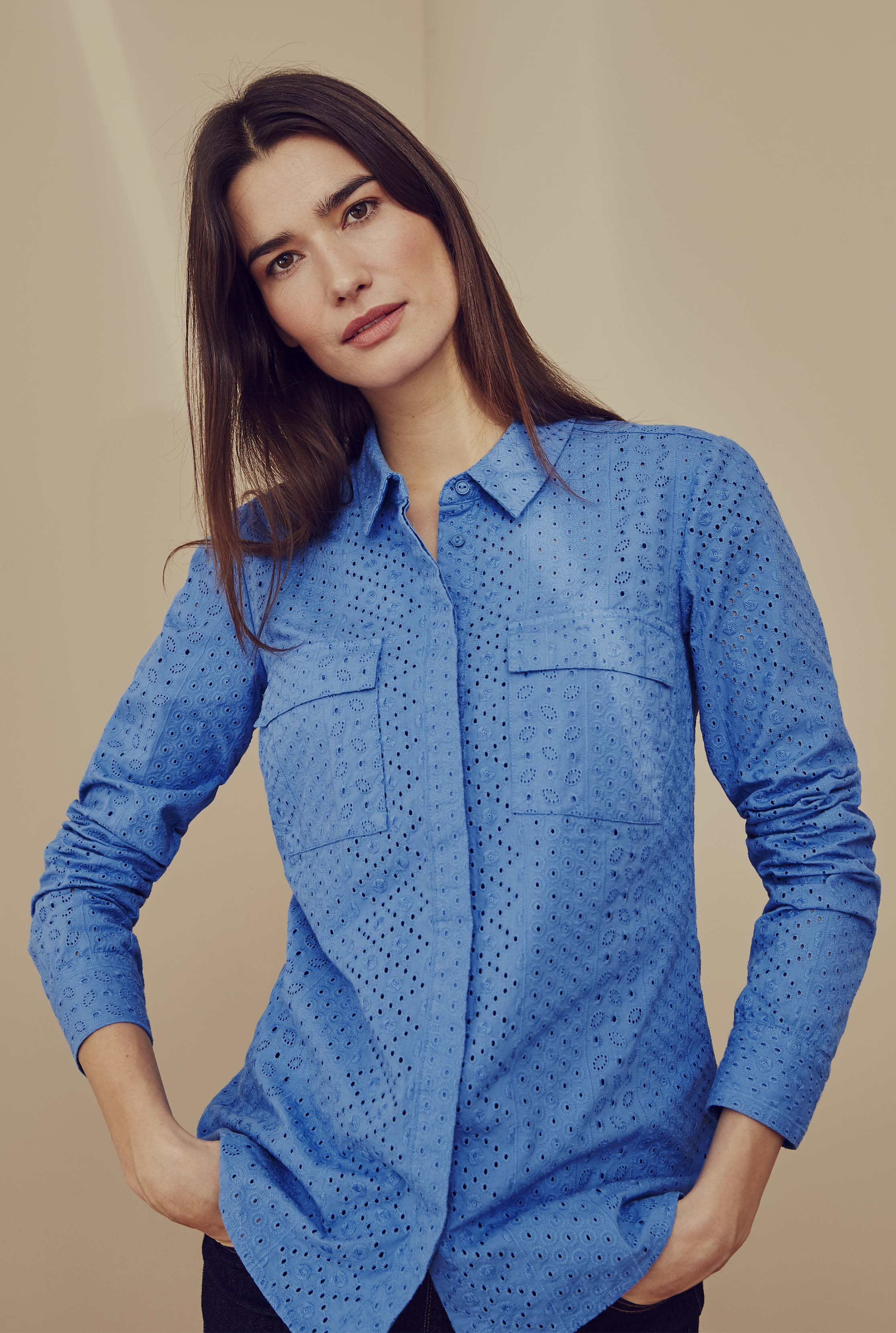 Blue Cotton Broderie Long Sleeve Shirt