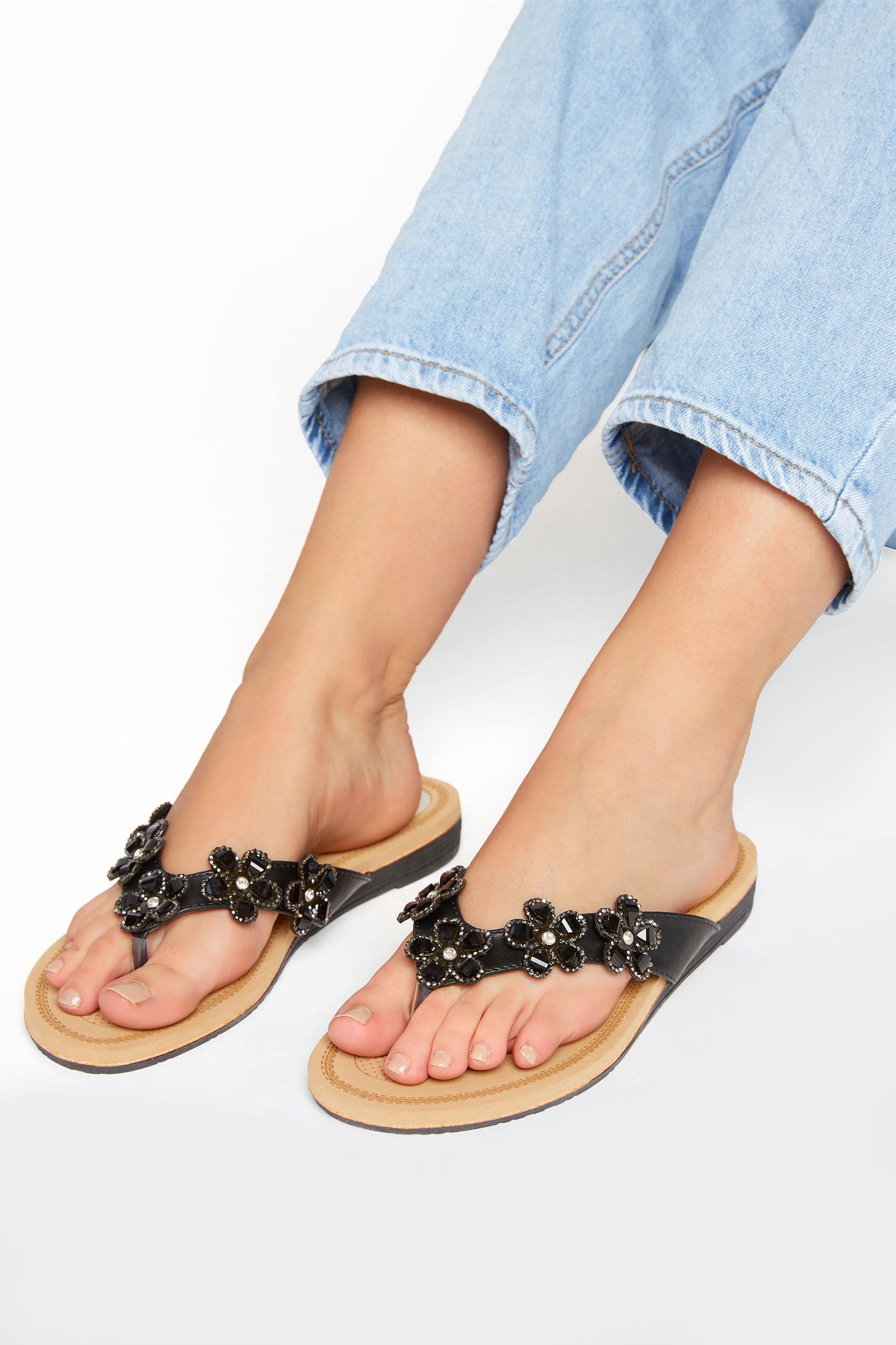 Yours Black Flower Gem Sandals in Regular Fit