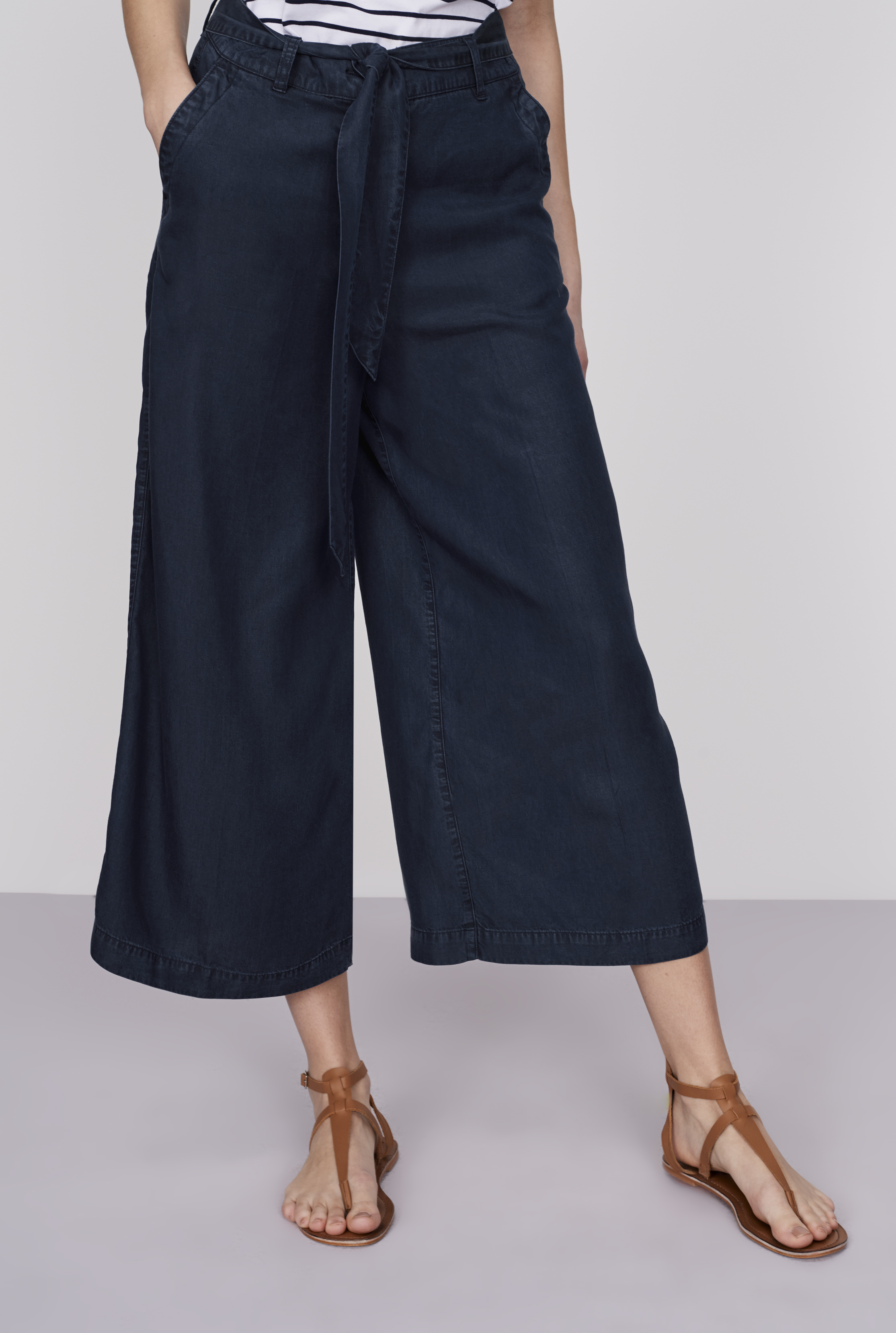 Navy Belted Tencel Culottes