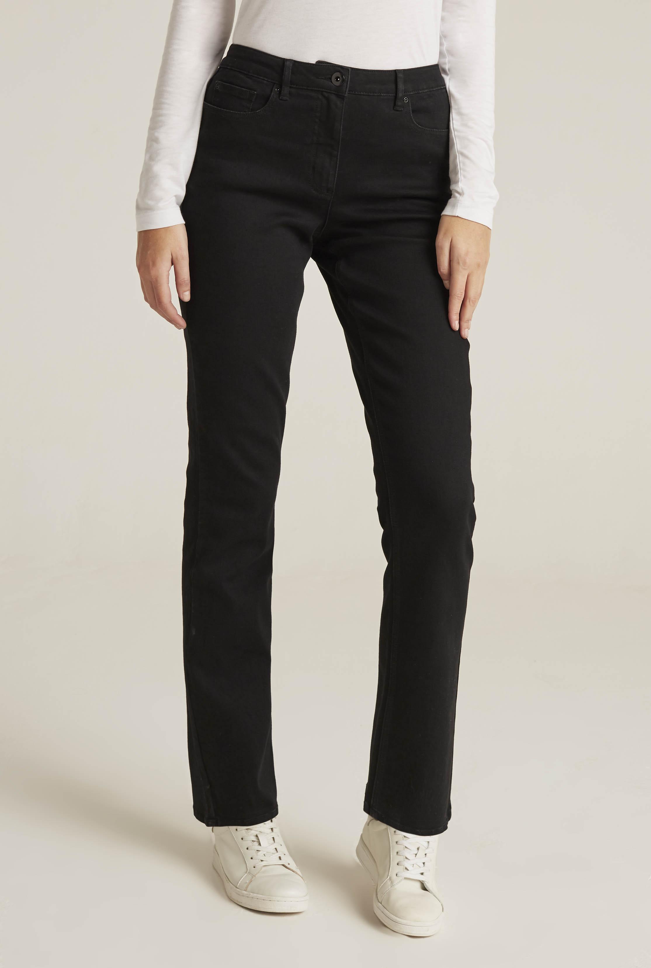 Black Mid Rise Straight Leg Jeans