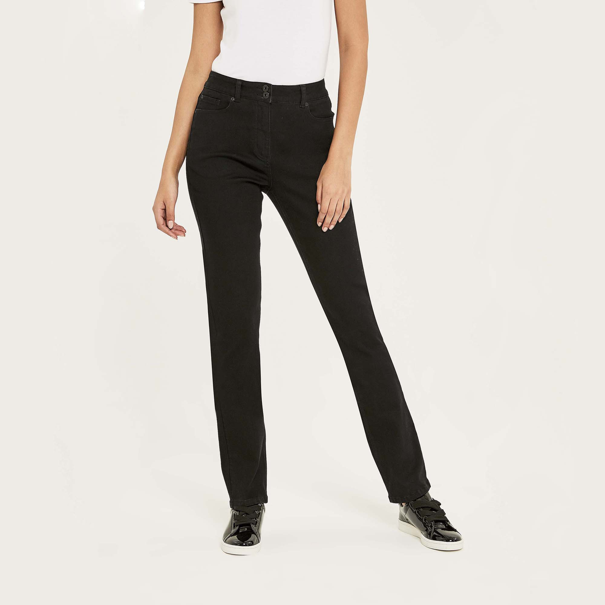 Black Straight Leg High Rise Jean