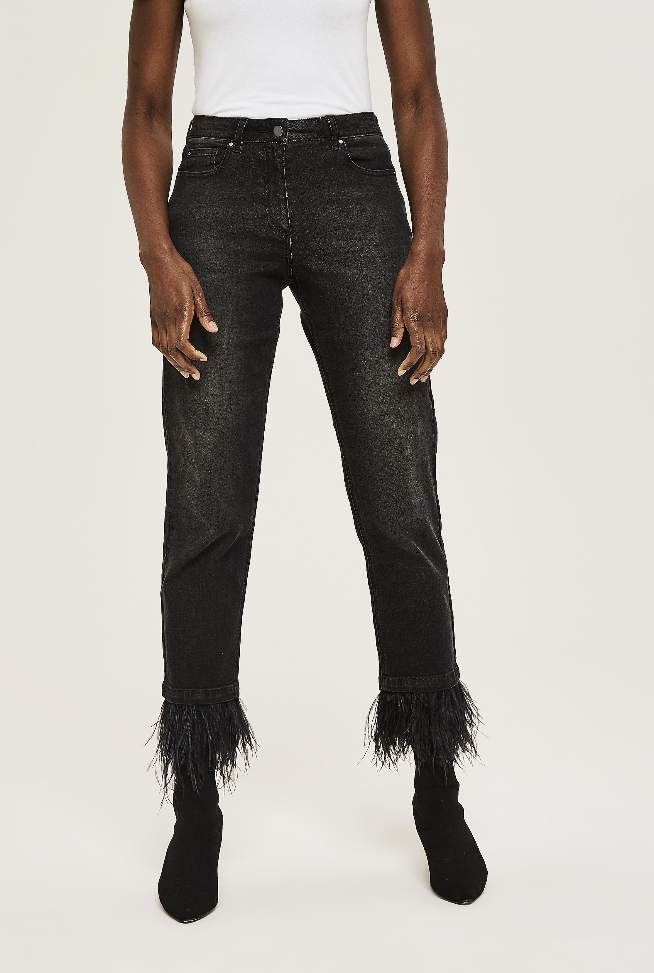 Feather Trim Ankle Grazer Jean