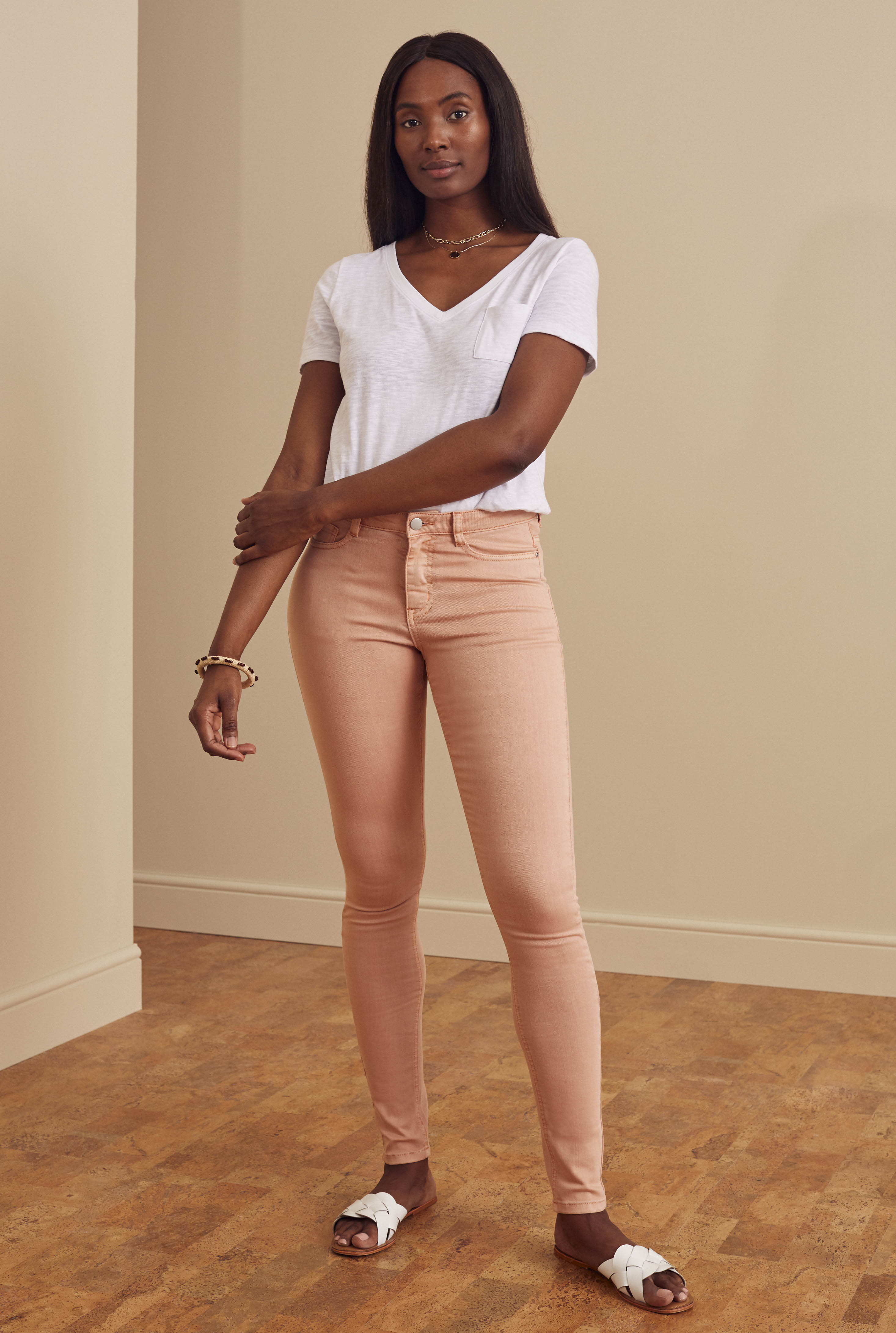 Coral Skinny Low Rise Jeans