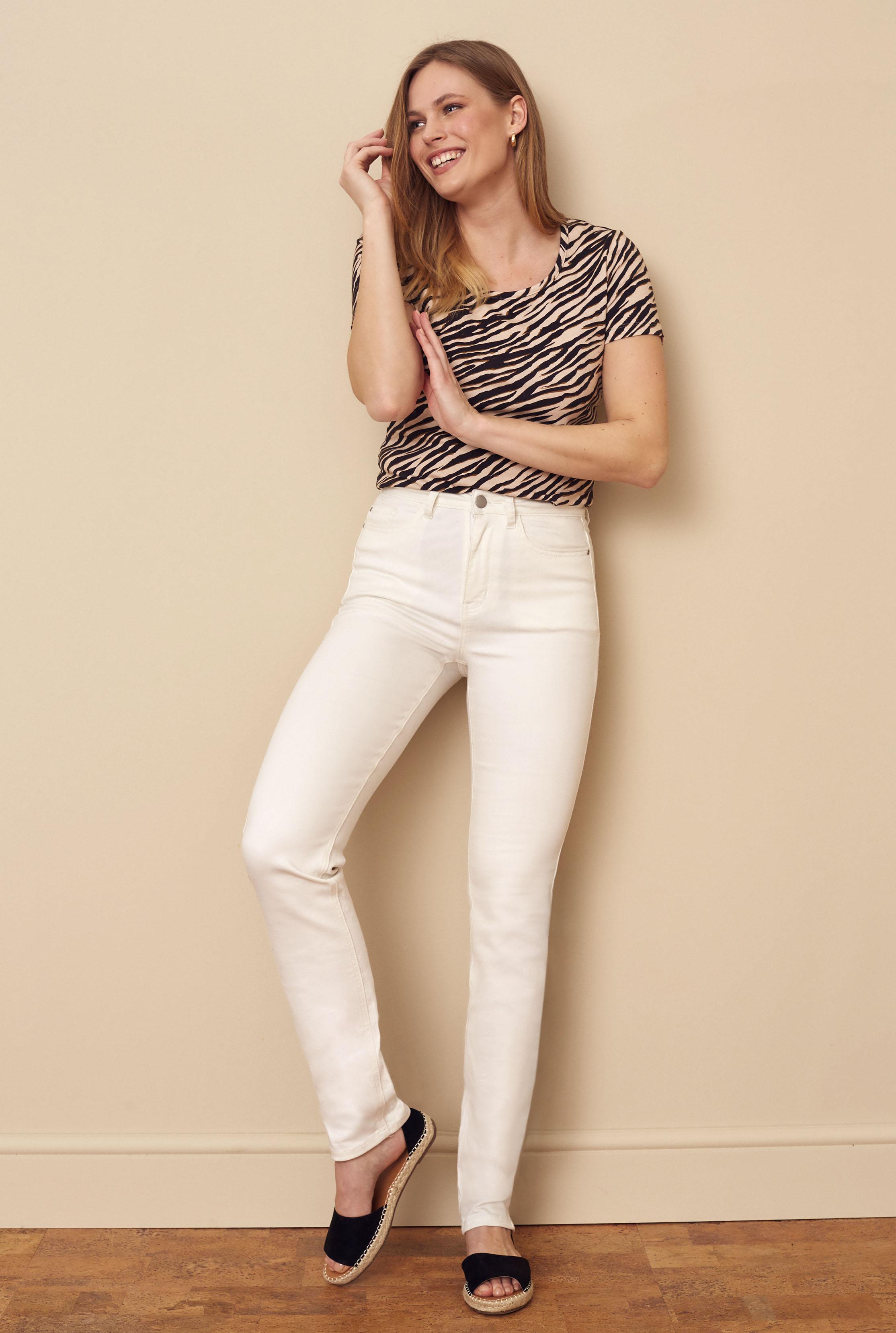 White Slim Leg Mid Rise Jeans