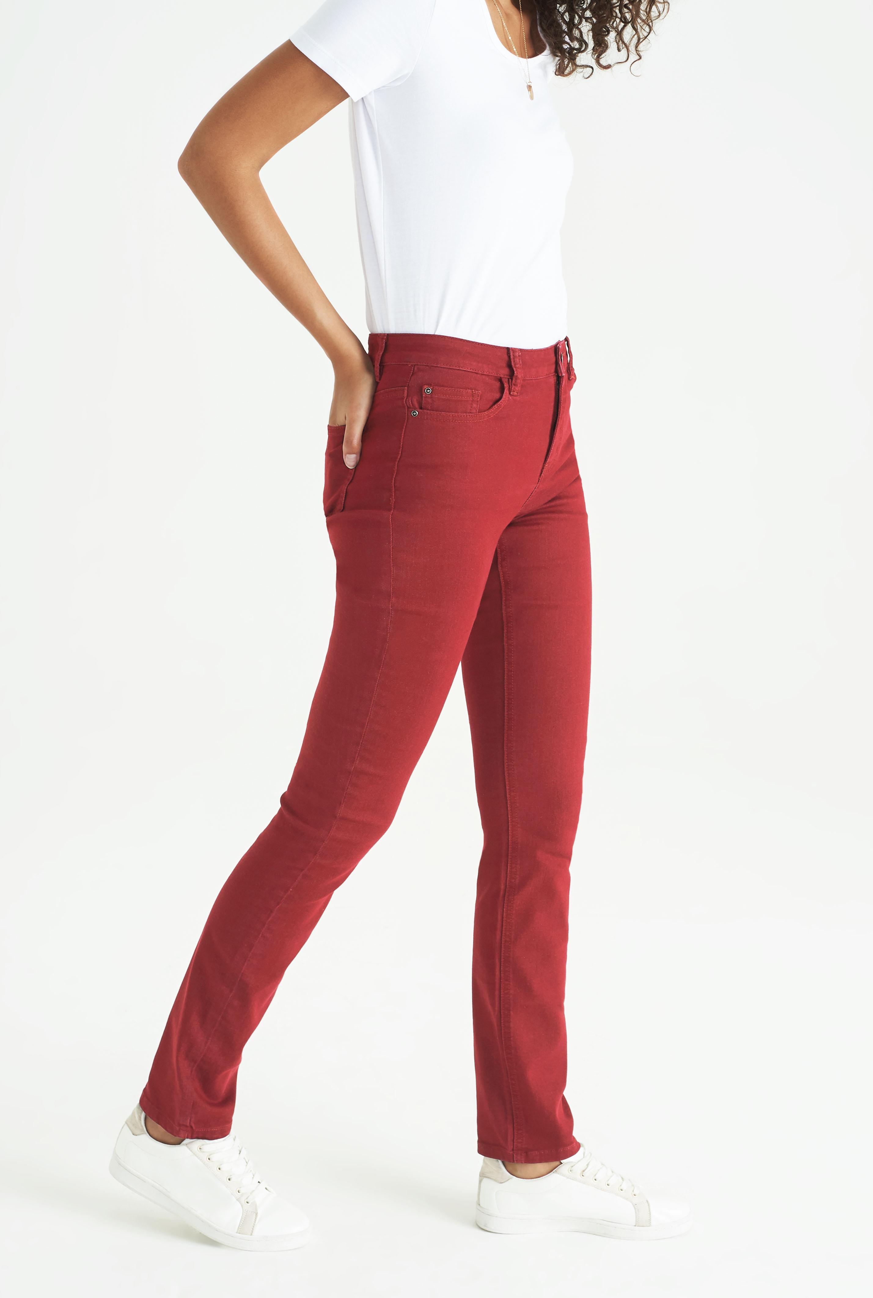 Red Slim Leg Mid Rise Jeans
