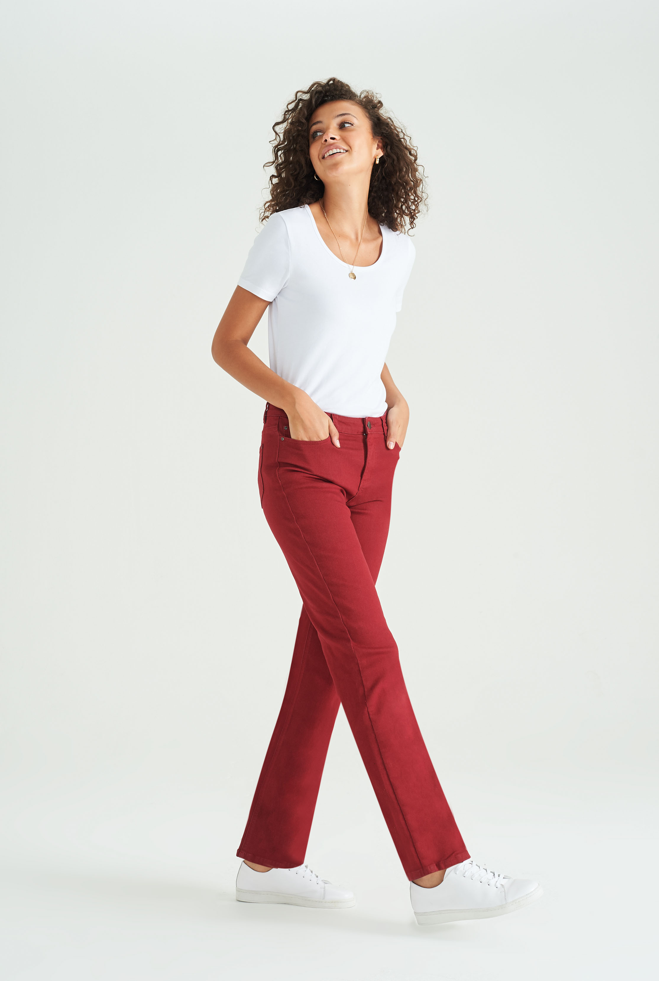 Red Straight Leg Mid Rise Jeans