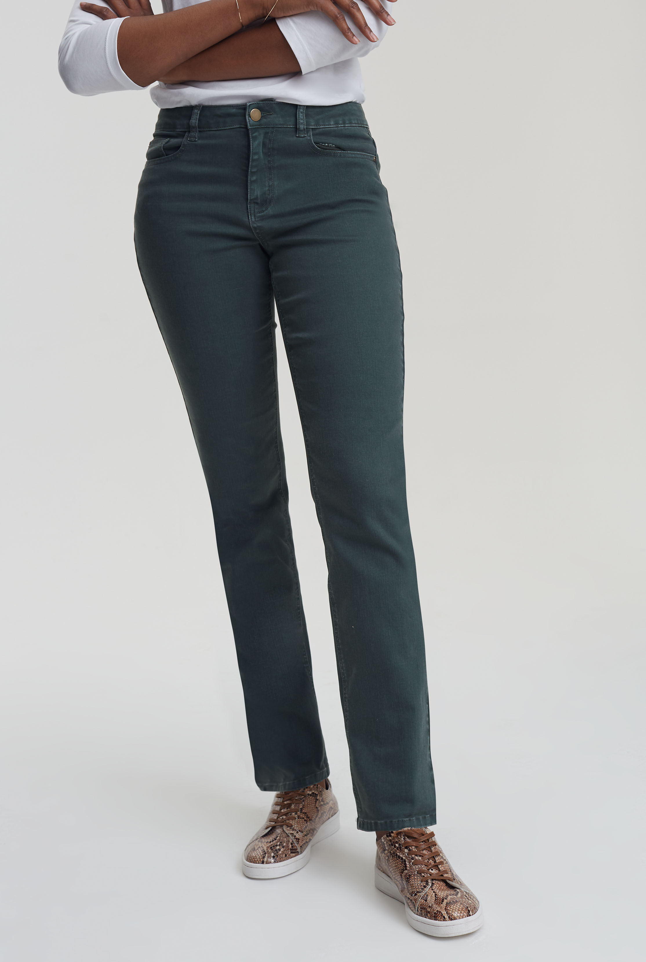 Yellow Straight Leg Mid Rise Jeans