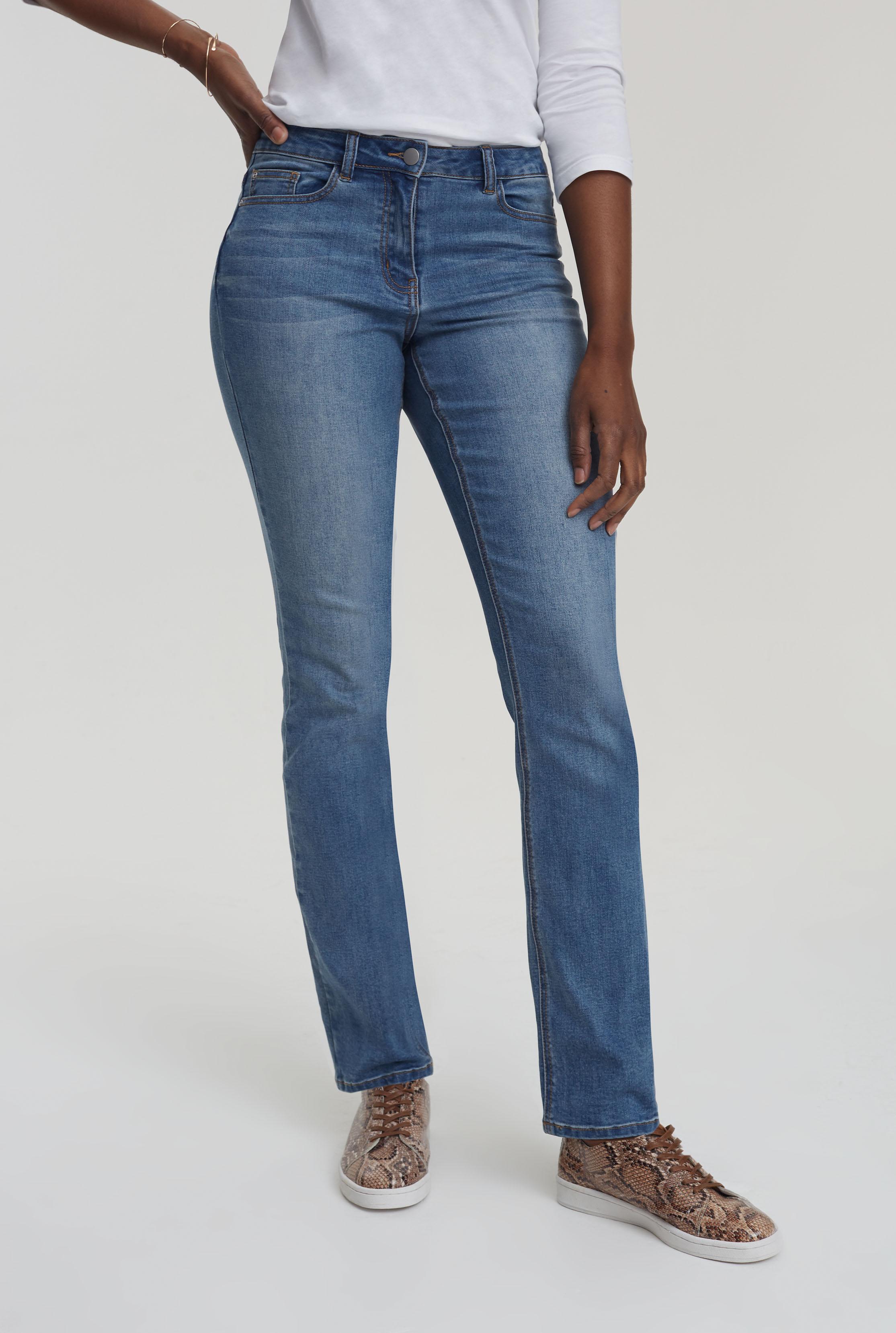 Mid Blue Straight Leg Mid Rise Jeans