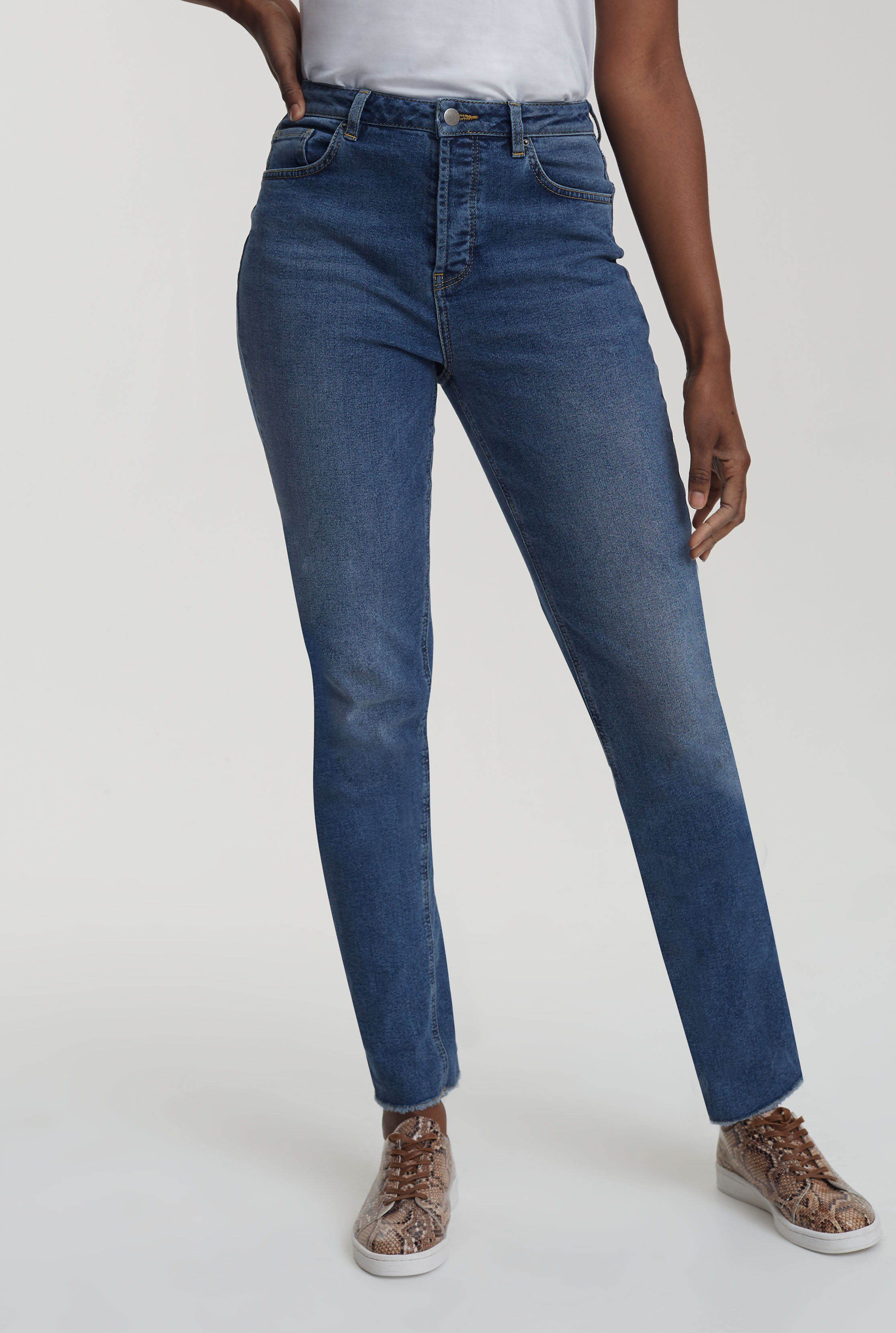 Mid Wash Blue Authentic Straight Jean