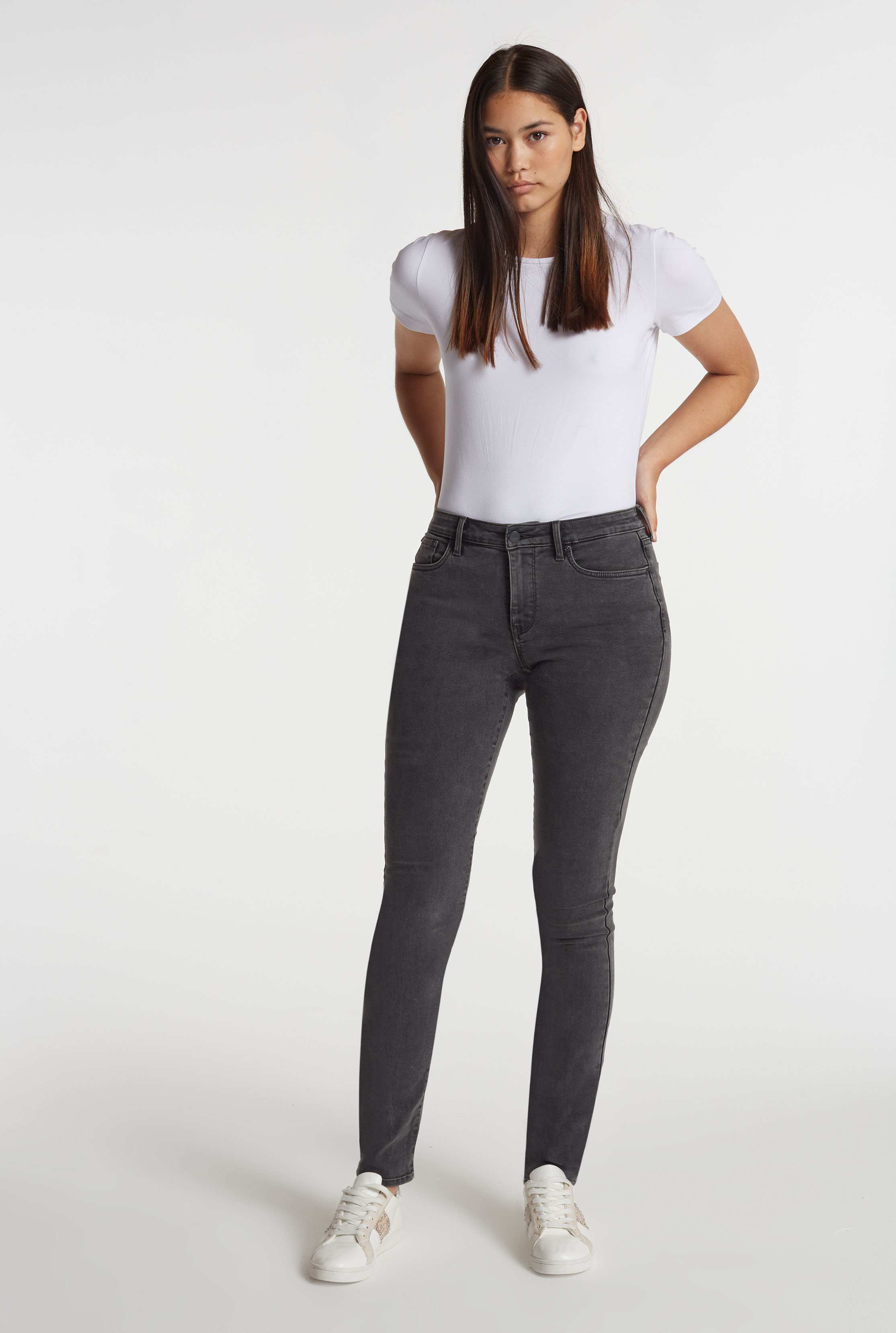 NYDJ Charcoal Alina Folsom Skinny Jeans