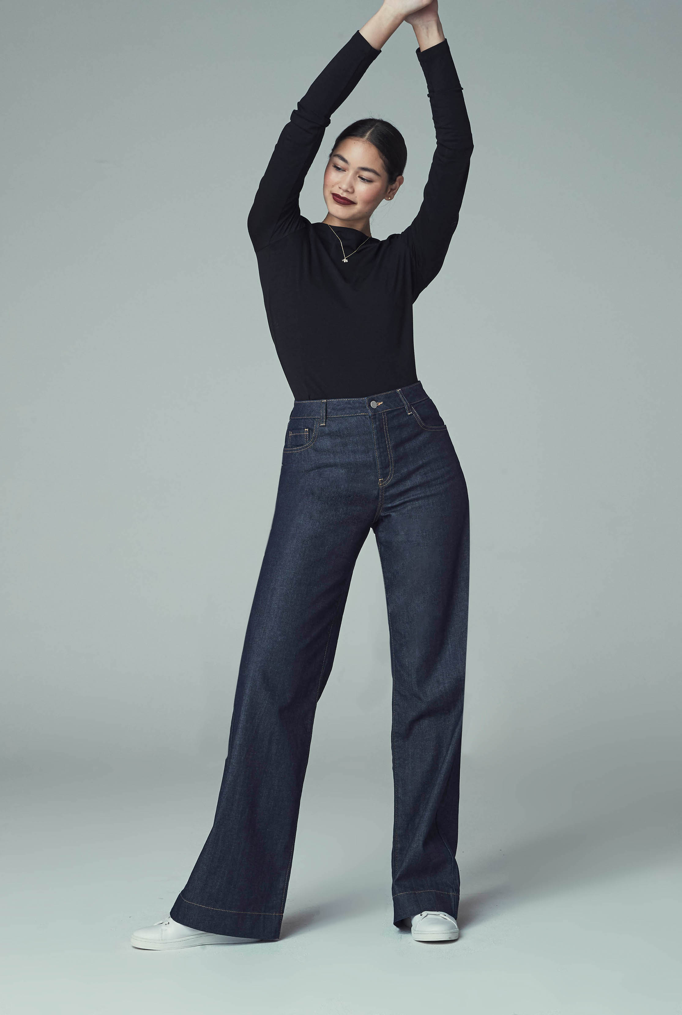 Indigo Blue Tailored Wide Leg Jeans