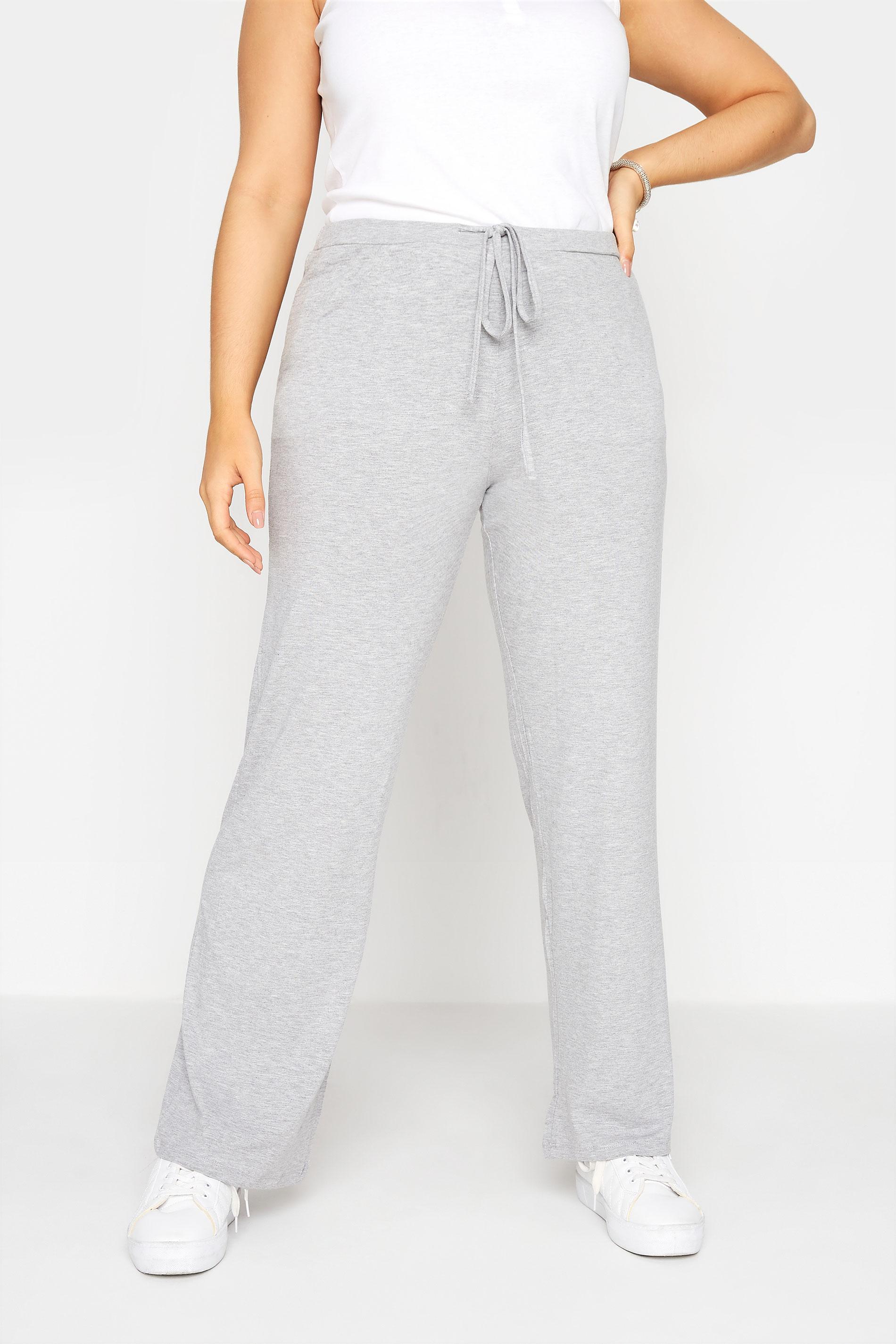 Grey Wide Leg Pull On Stretch Jersey Yoga Pants_B.jpg