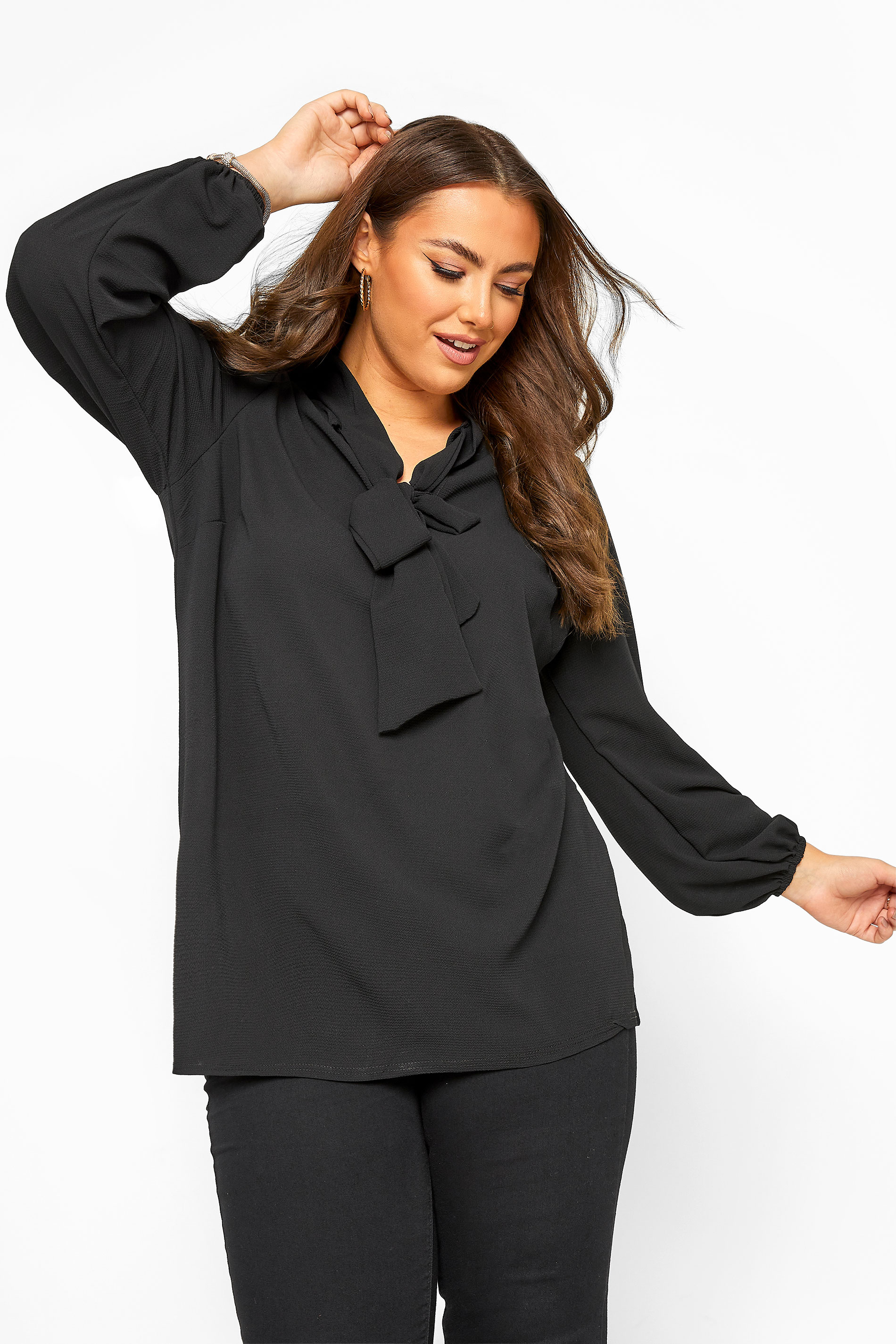 YOURS LONDON Black Bow Blouse