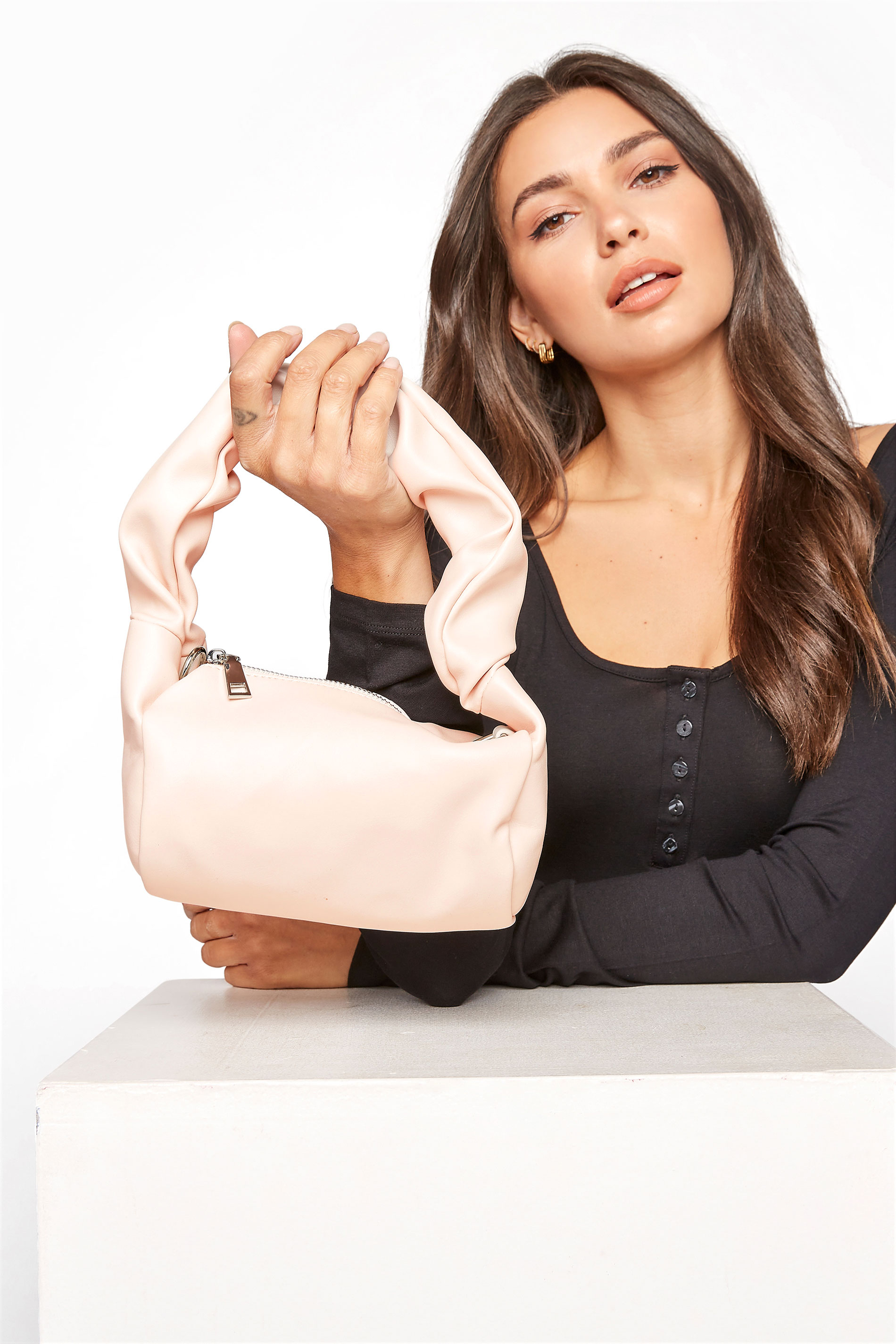 Yours Nude Ruched Handle Bag