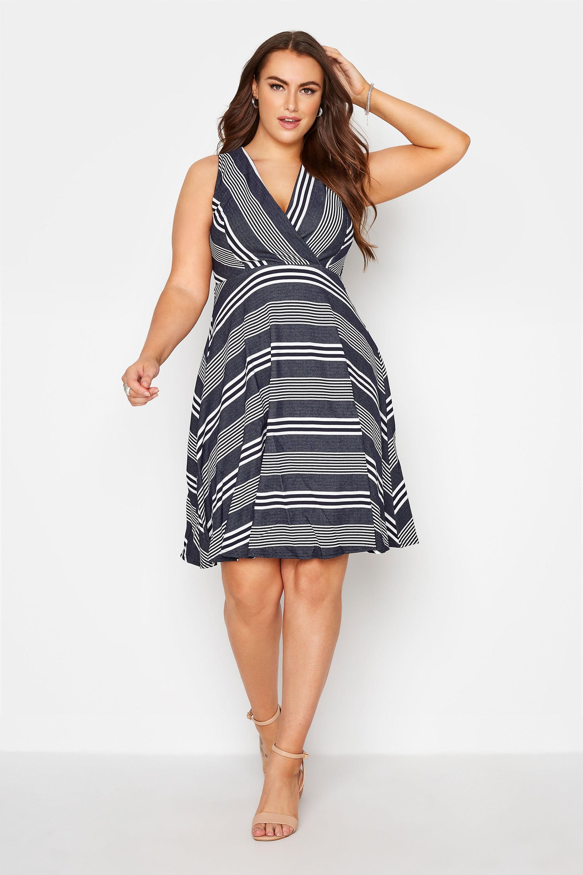 Navy Stripe Wrap Skater Dress_A.jpg