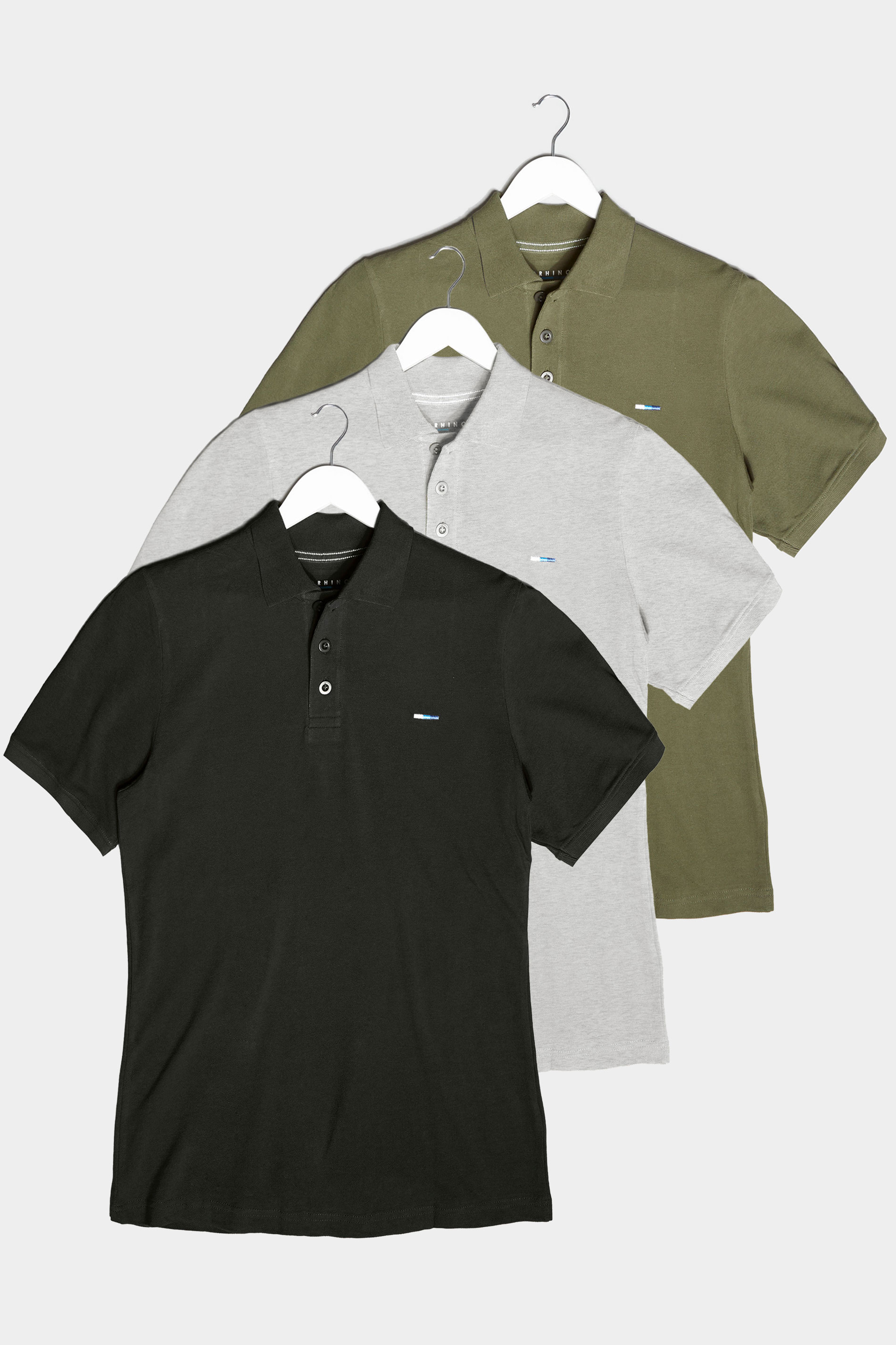 BadRhino Multi 3 Pack Essential Polo Shirts