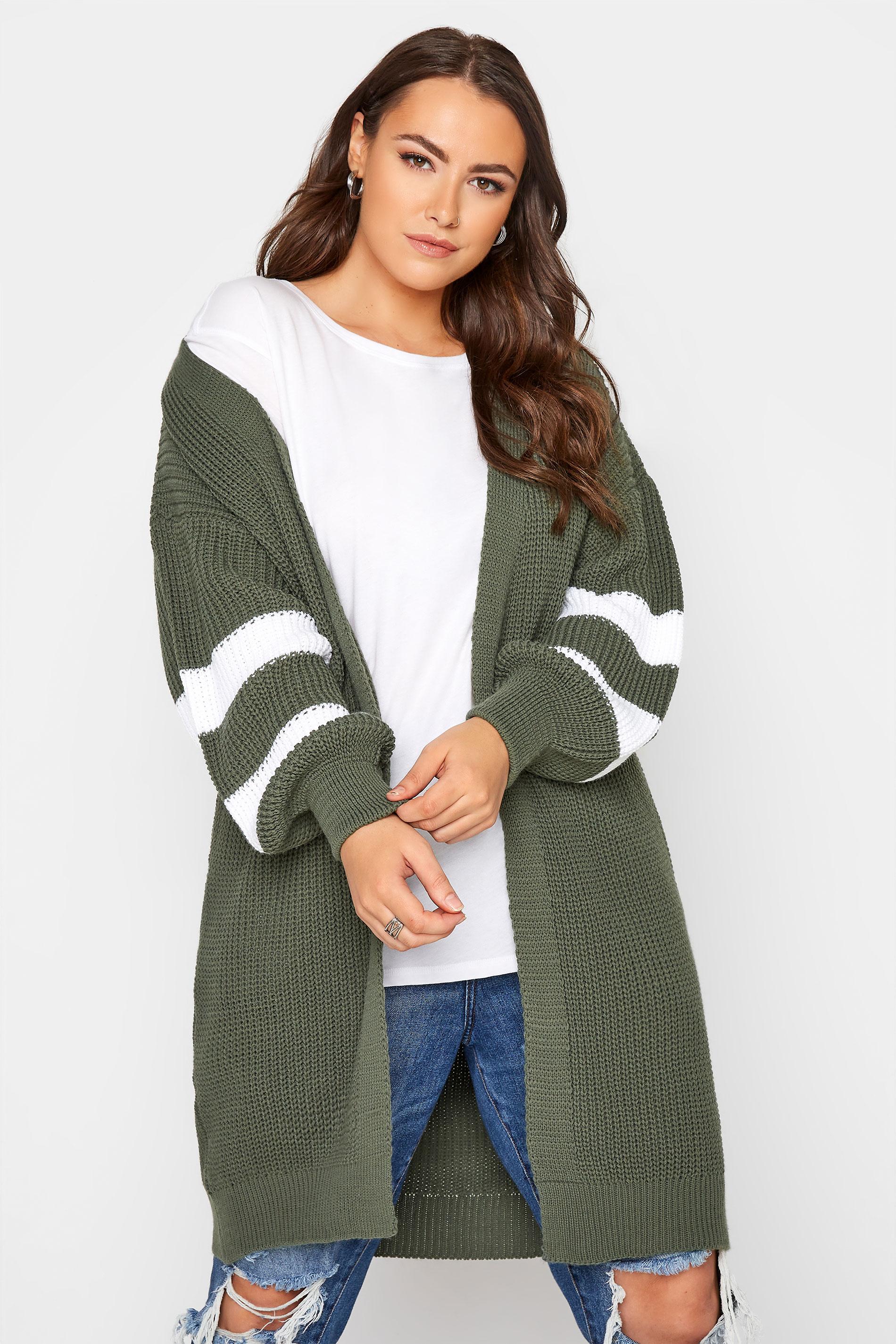 Khaki Varsity Stripes Knitted Cardigan_A.jpg