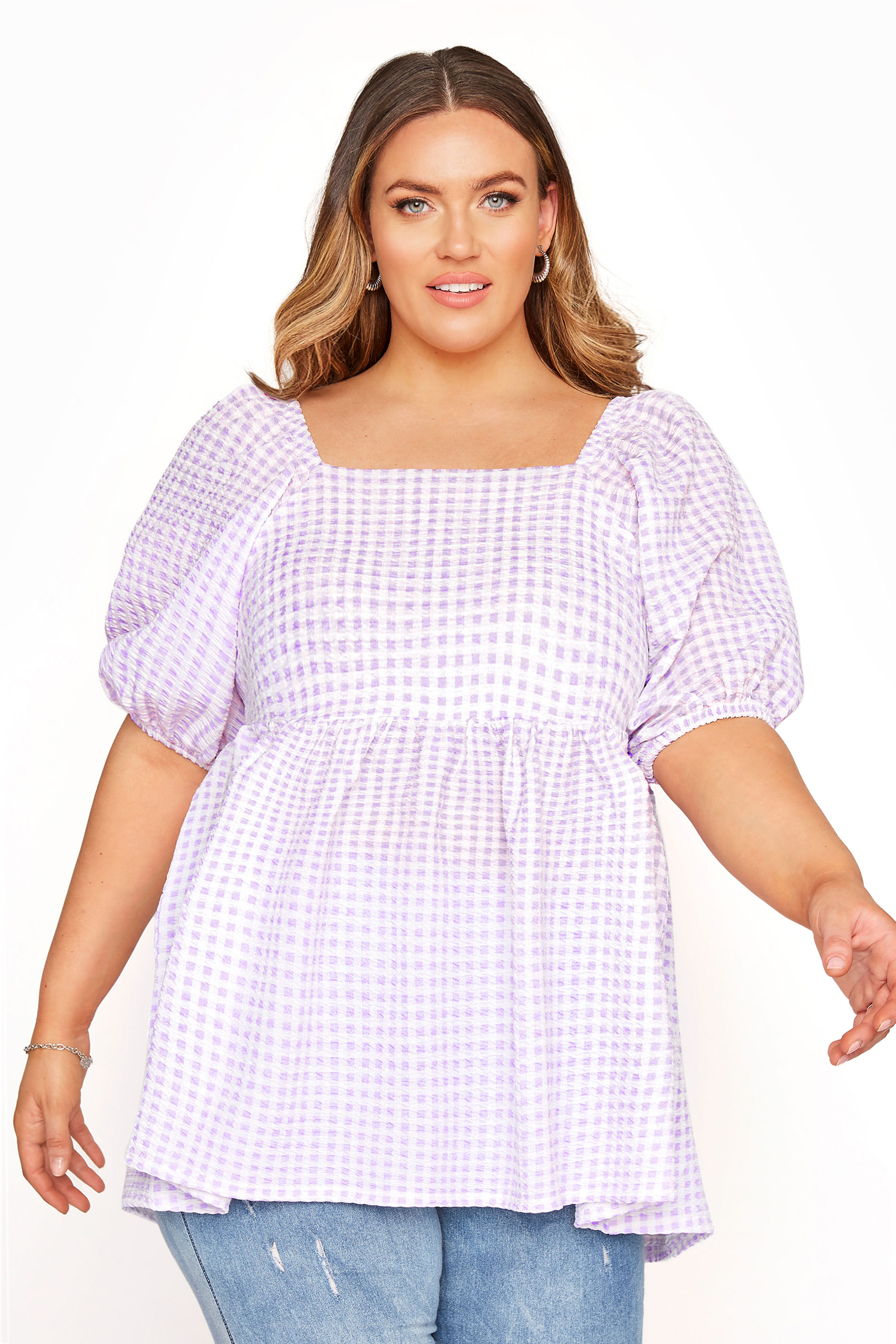 LIMITED COLLECTION Lilac Gingham Milkmaid Top