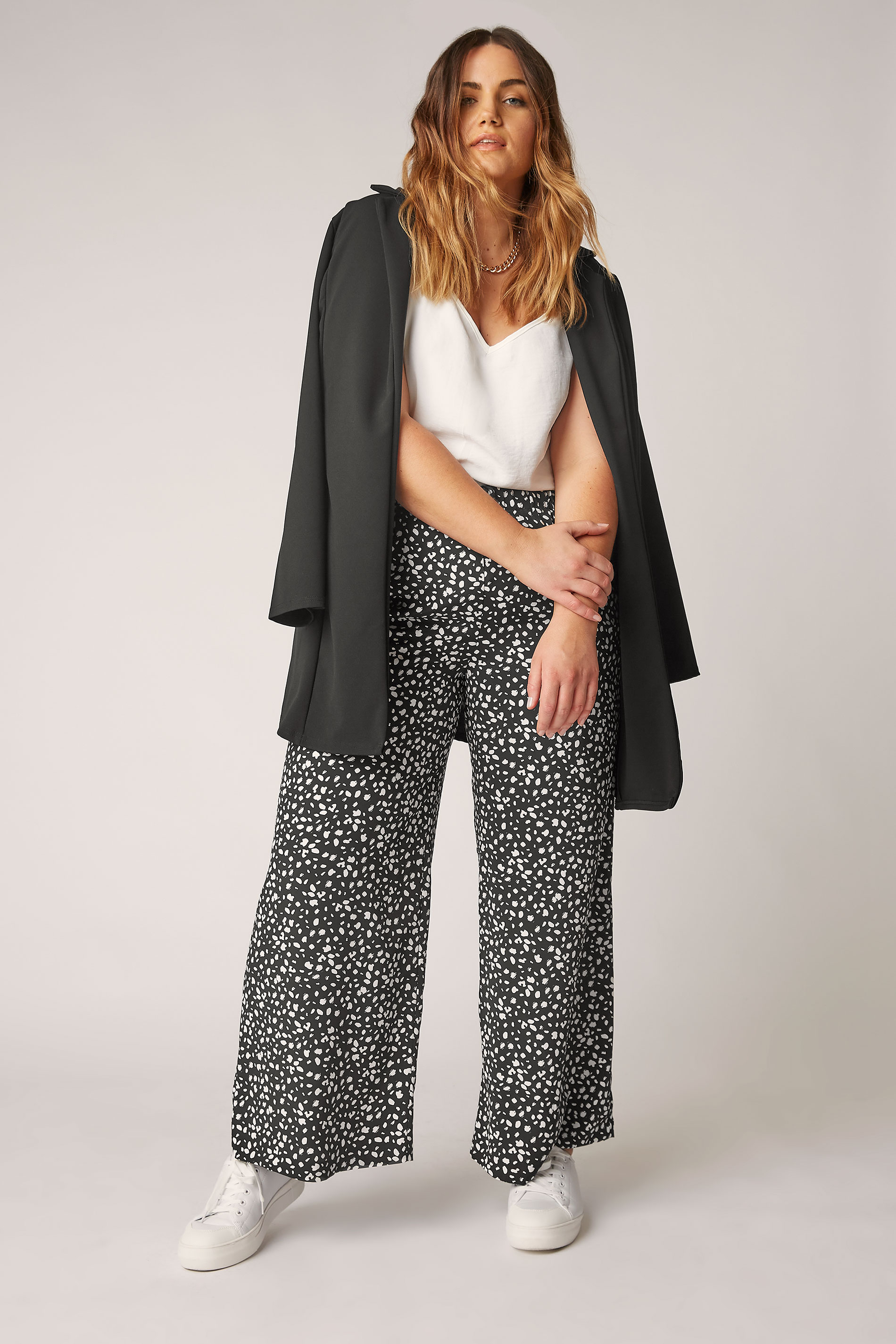 THE LIMITED EDIT Black Speckled Print Wide Leg Trousers_A.jpg