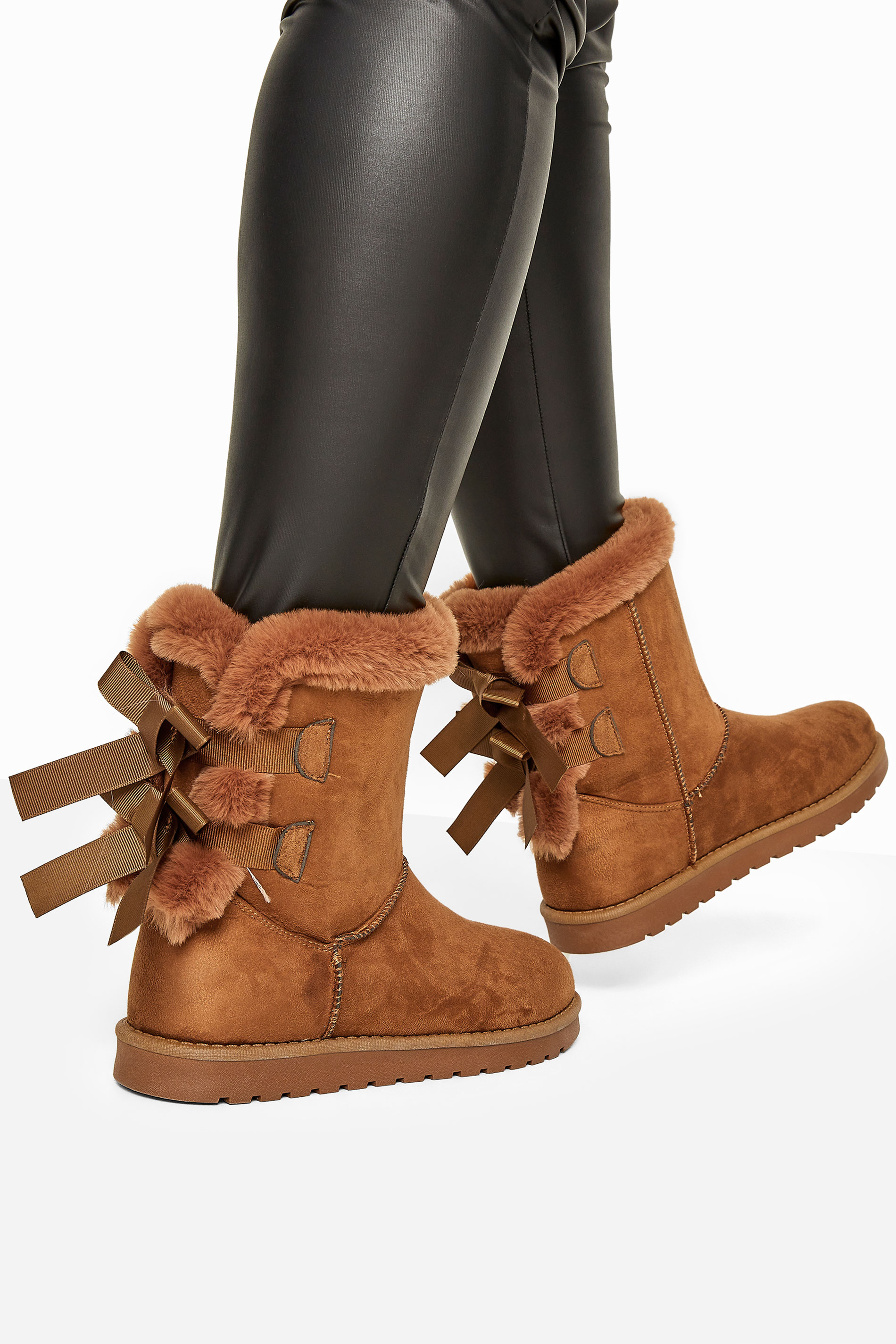 Yours Brown Vegan Faux Suede Bow Detail Boots In Extra Wide Fit
