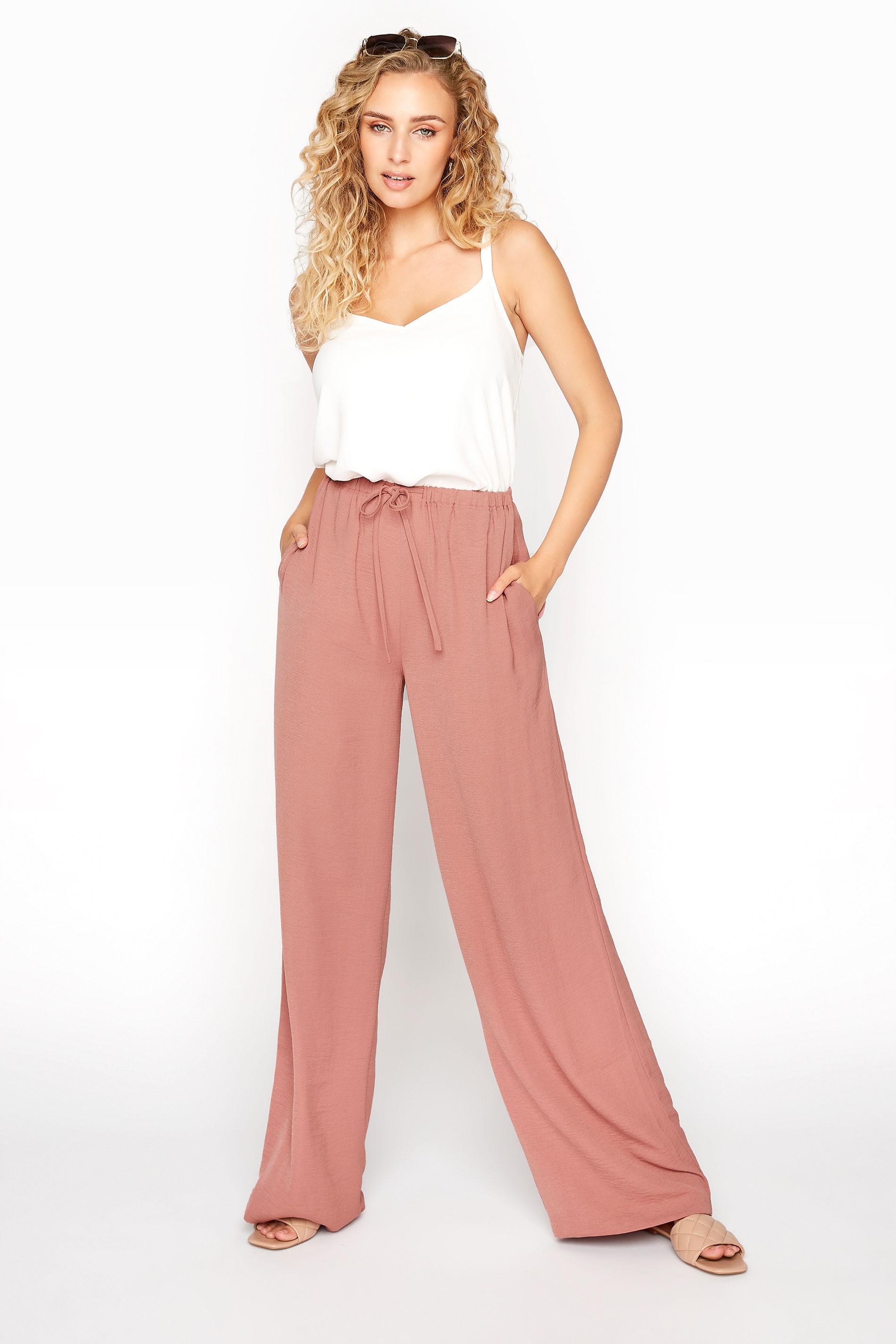 LTS Pink Wide Leg Twill Trousers_A.jpg