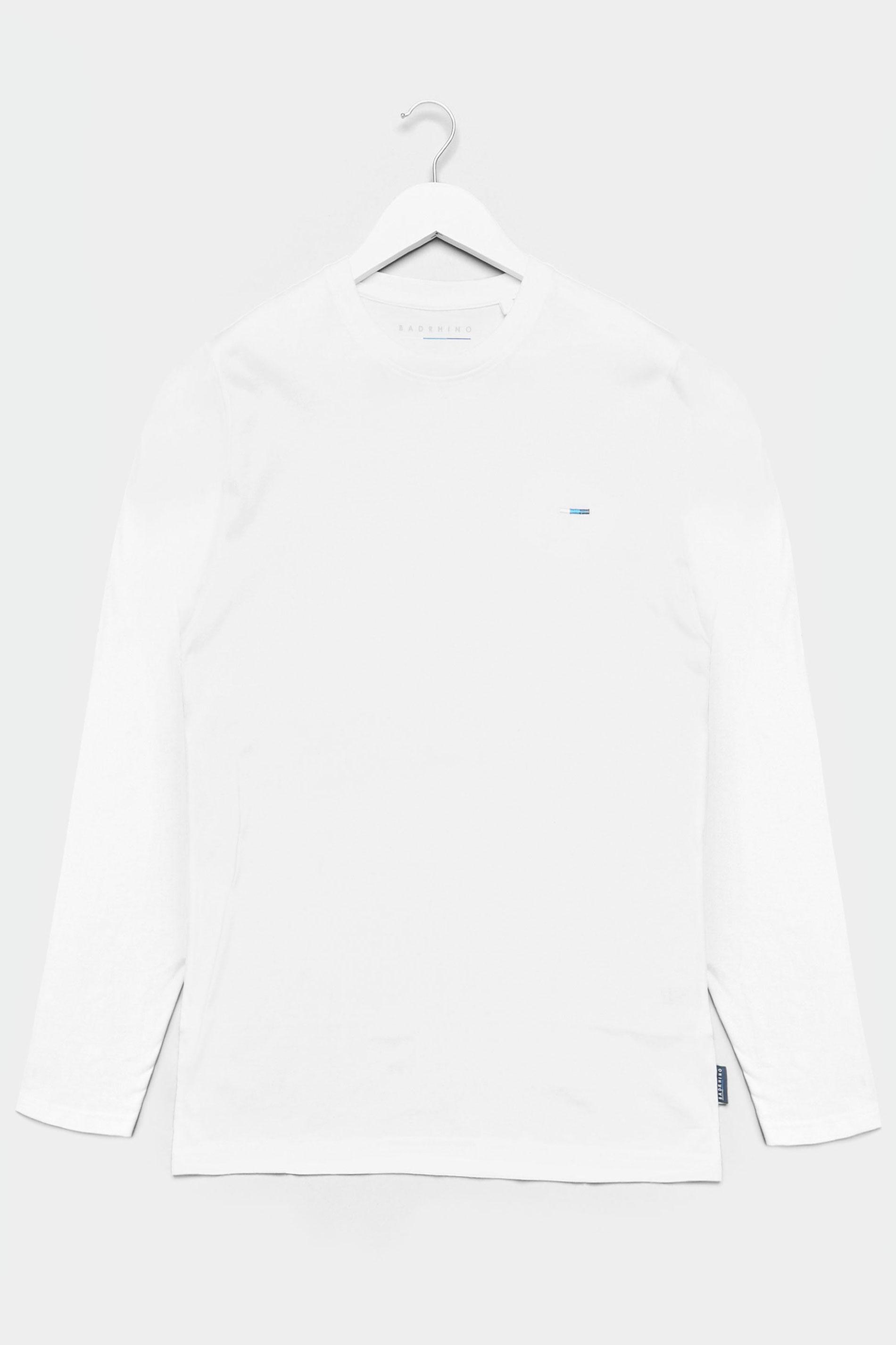BadRhino White Plain Long Sleeve T-Shirt