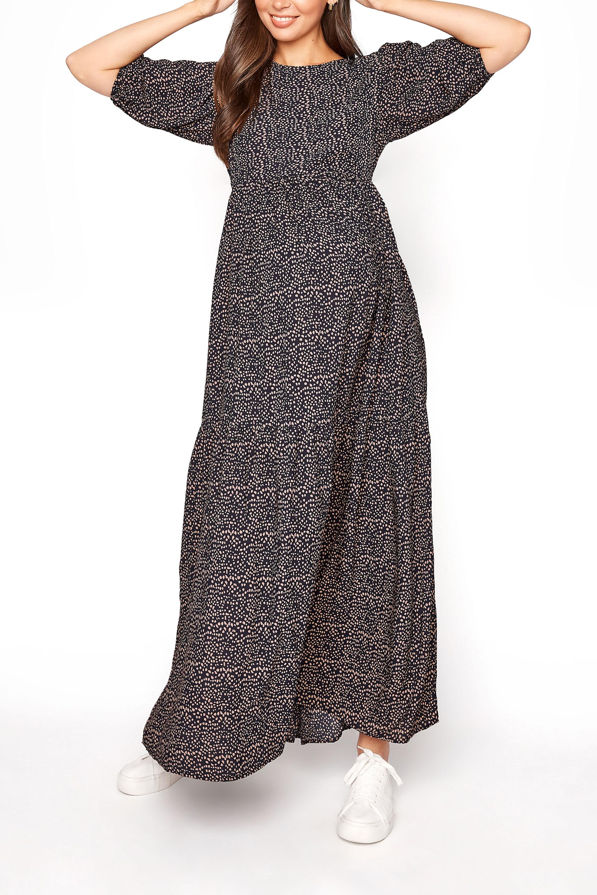 LTS Maternity Navy Speckled Smock Maxi Dress_A.jpg