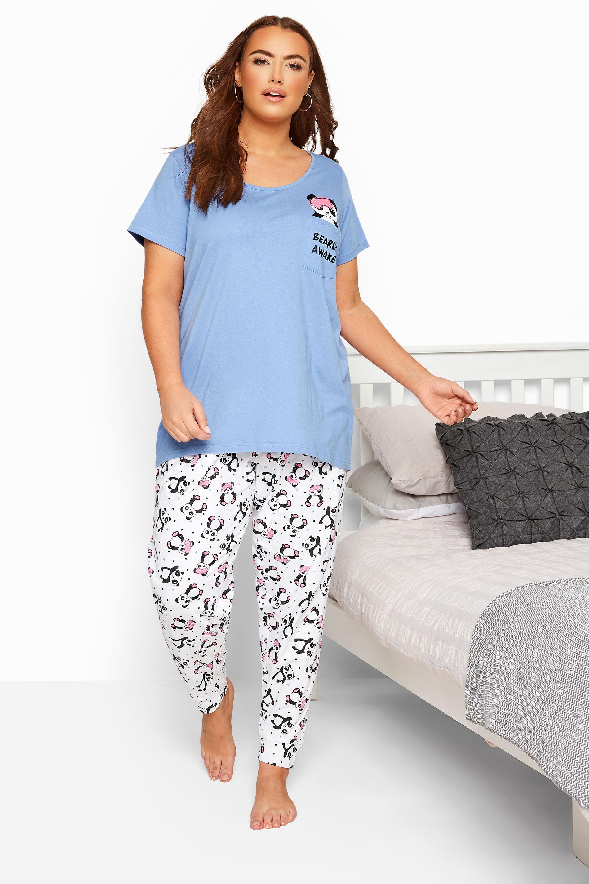 Blue Panda Slogan Pyjama Set