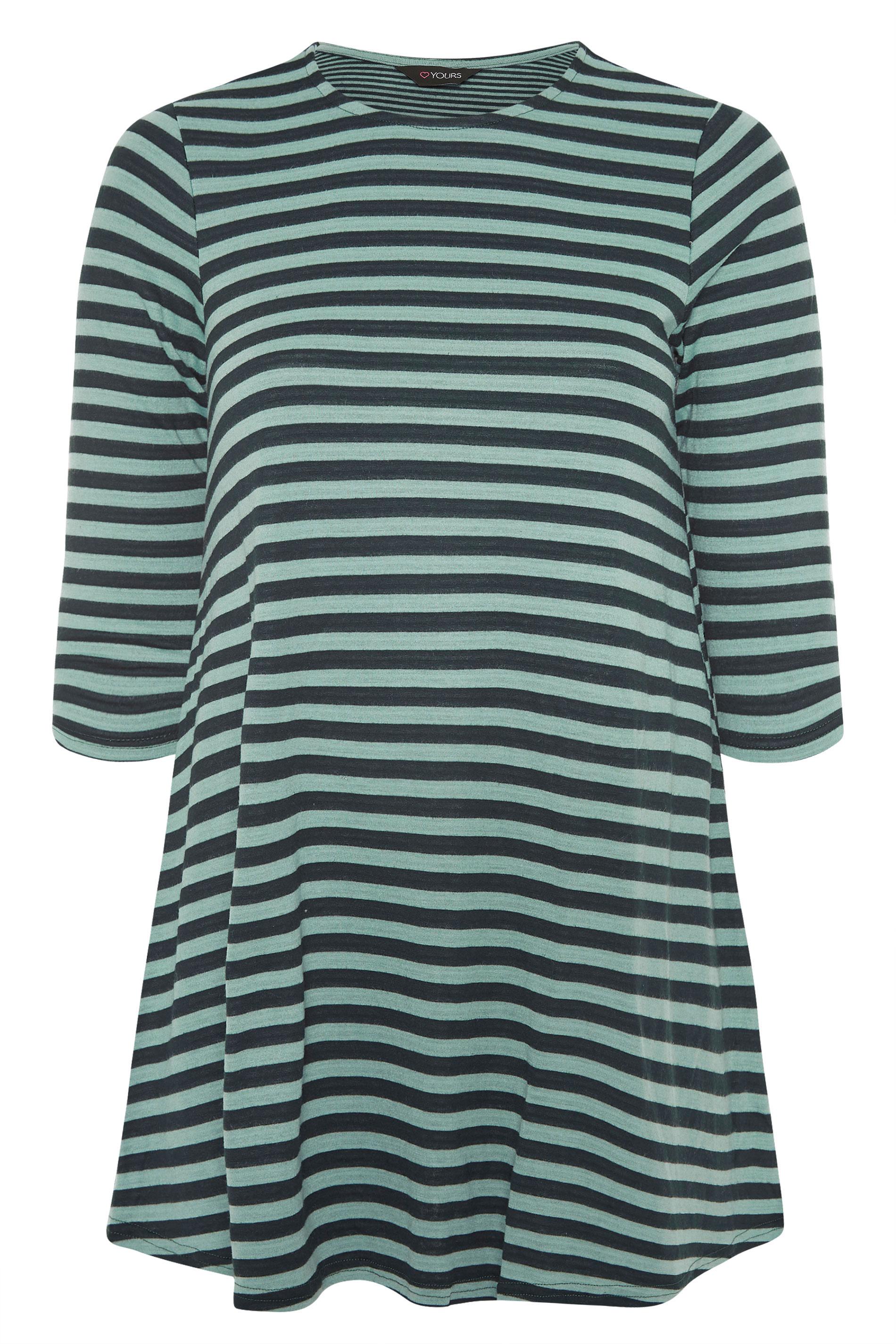 Green Stripe 3/4 Length Sleeve Top_F.jpg